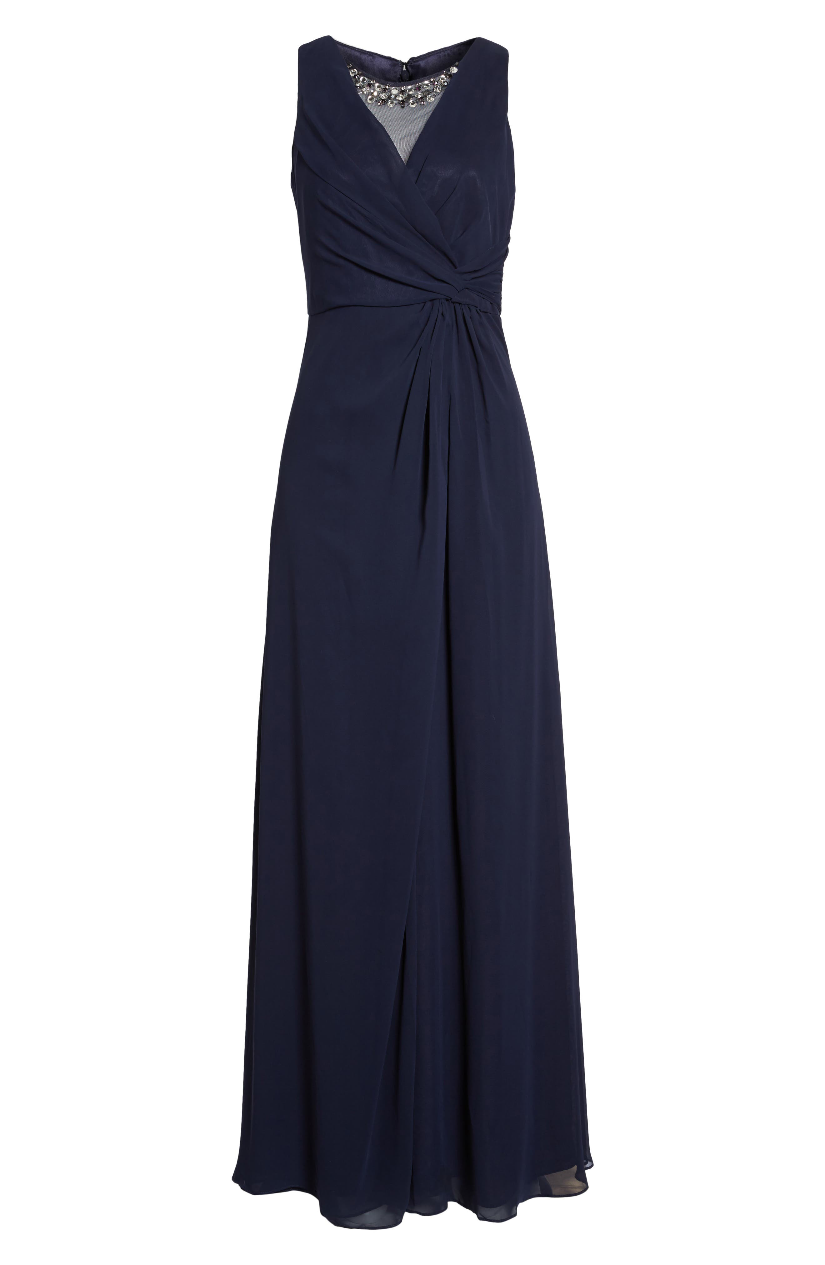 Embellished Chiffon Fit & Flare Gown,                             Alternate thumbnail 2, color,                             410