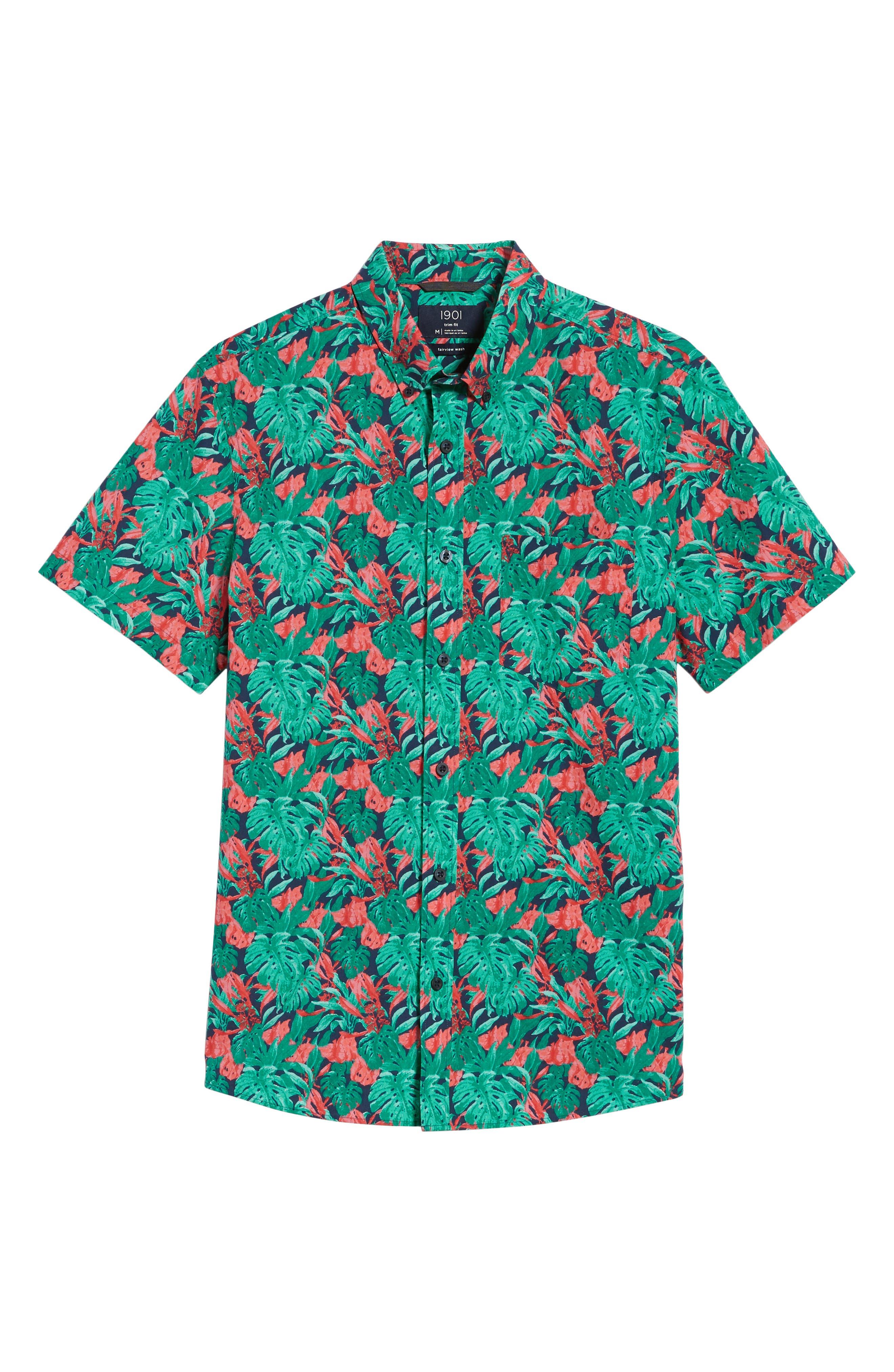 Trim Fit Print Short Sleeve Sport Shirt,                             Alternate thumbnail 6, color,                             310