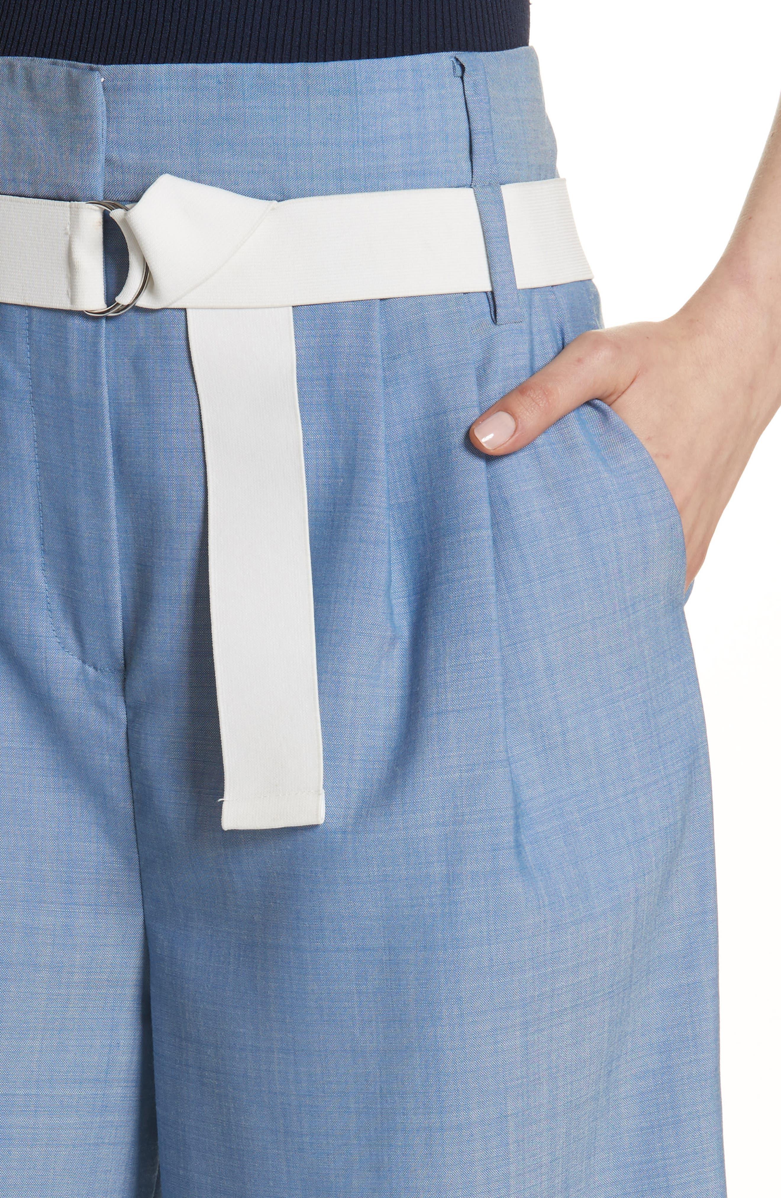 Belted Wide Leg Crop Pants,                             Alternate thumbnail 4, color,