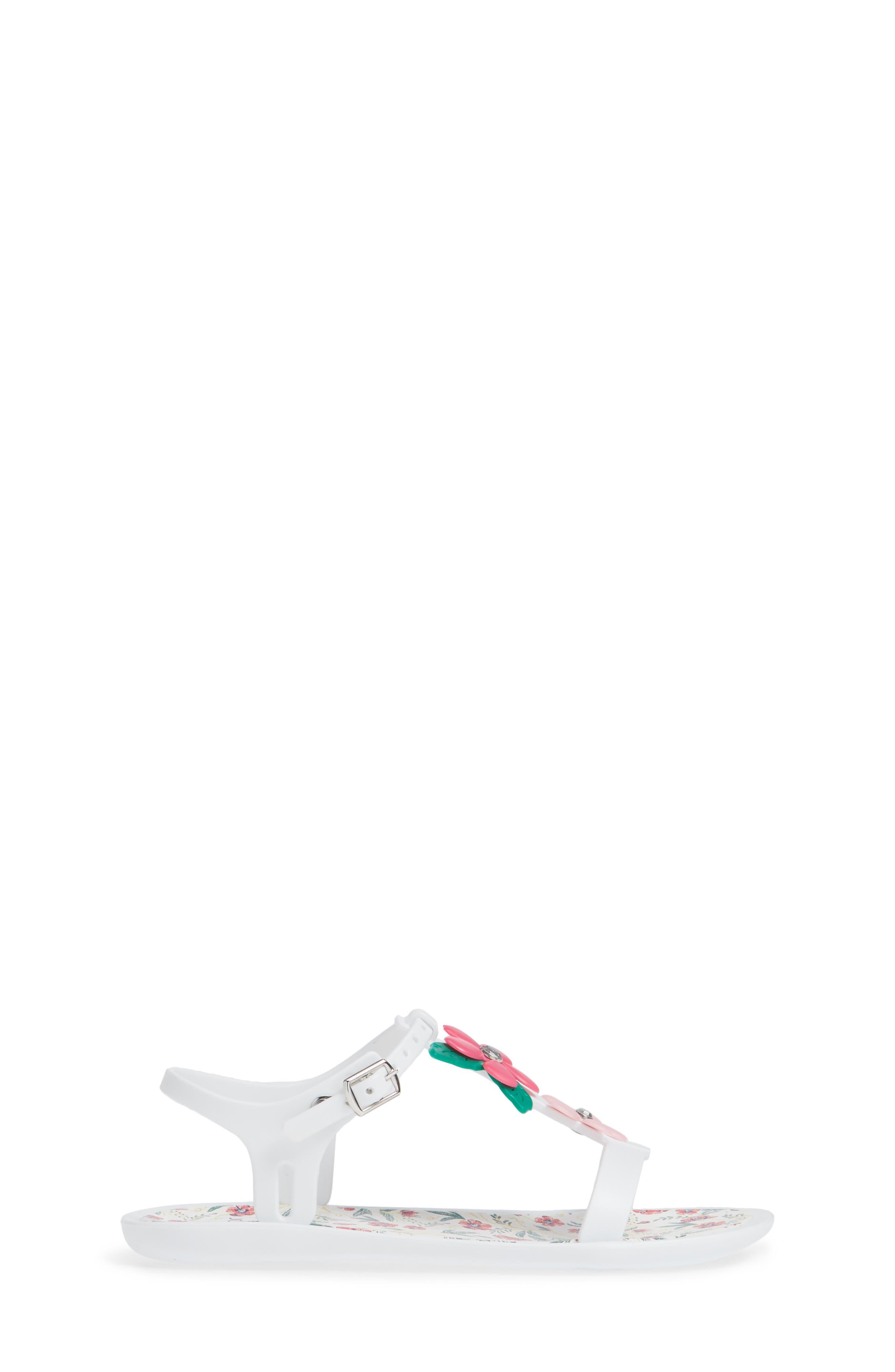 Tricia Floral T-Strap Sandal,                             Alternate thumbnail 3, color,                             100