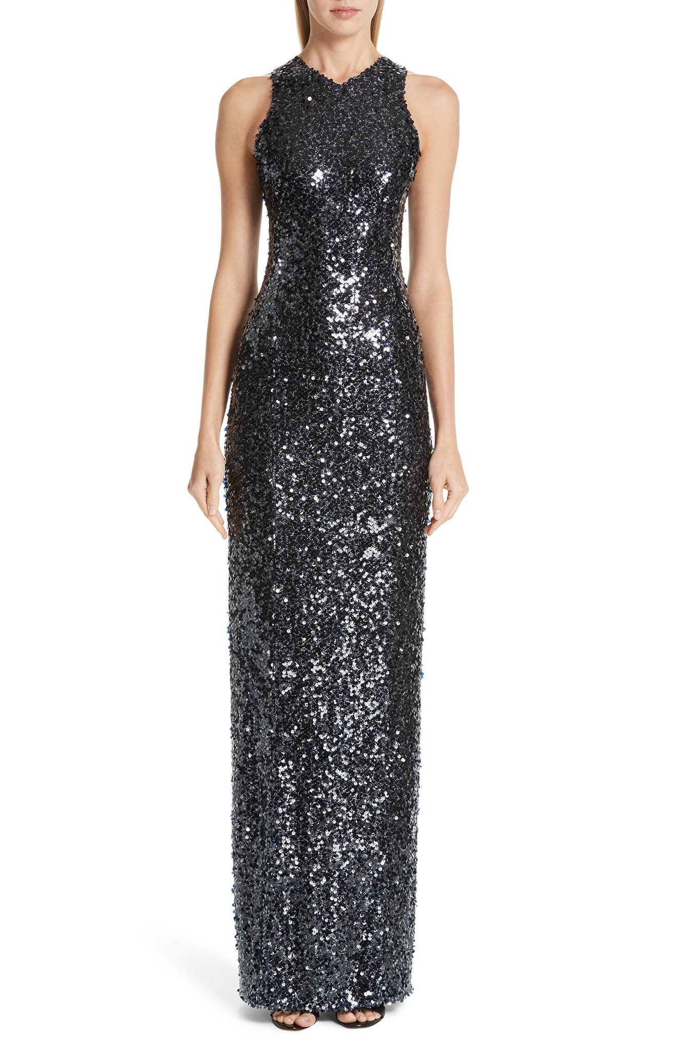 Sequin Racerback Gown,                             Main thumbnail 1, color,                             INKY BLUE BLACK