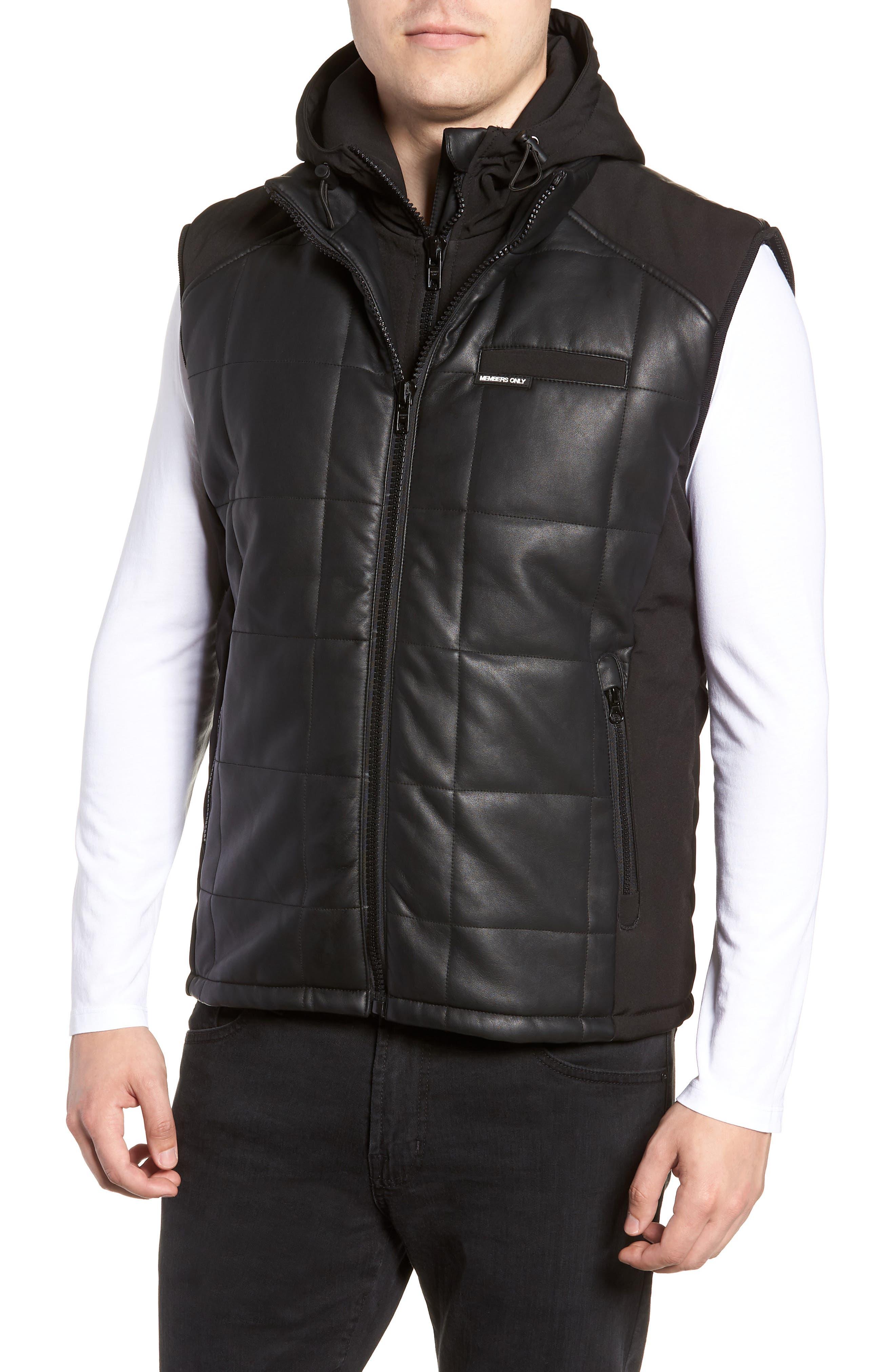 Quilted Convertible Vest/Jacket,                             Alternate thumbnail 4, color,                             BLACK