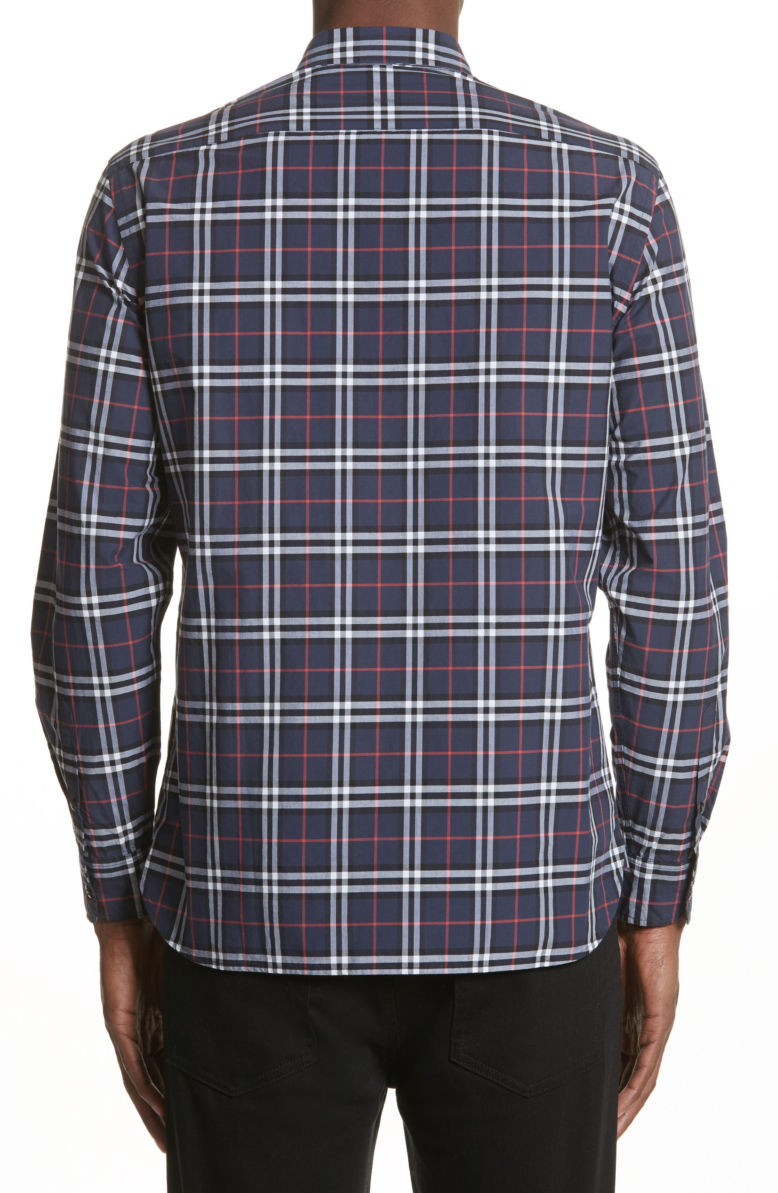 Alexander Check Sport Shirt,                             Alternate thumbnail 2, color,                             NAVY