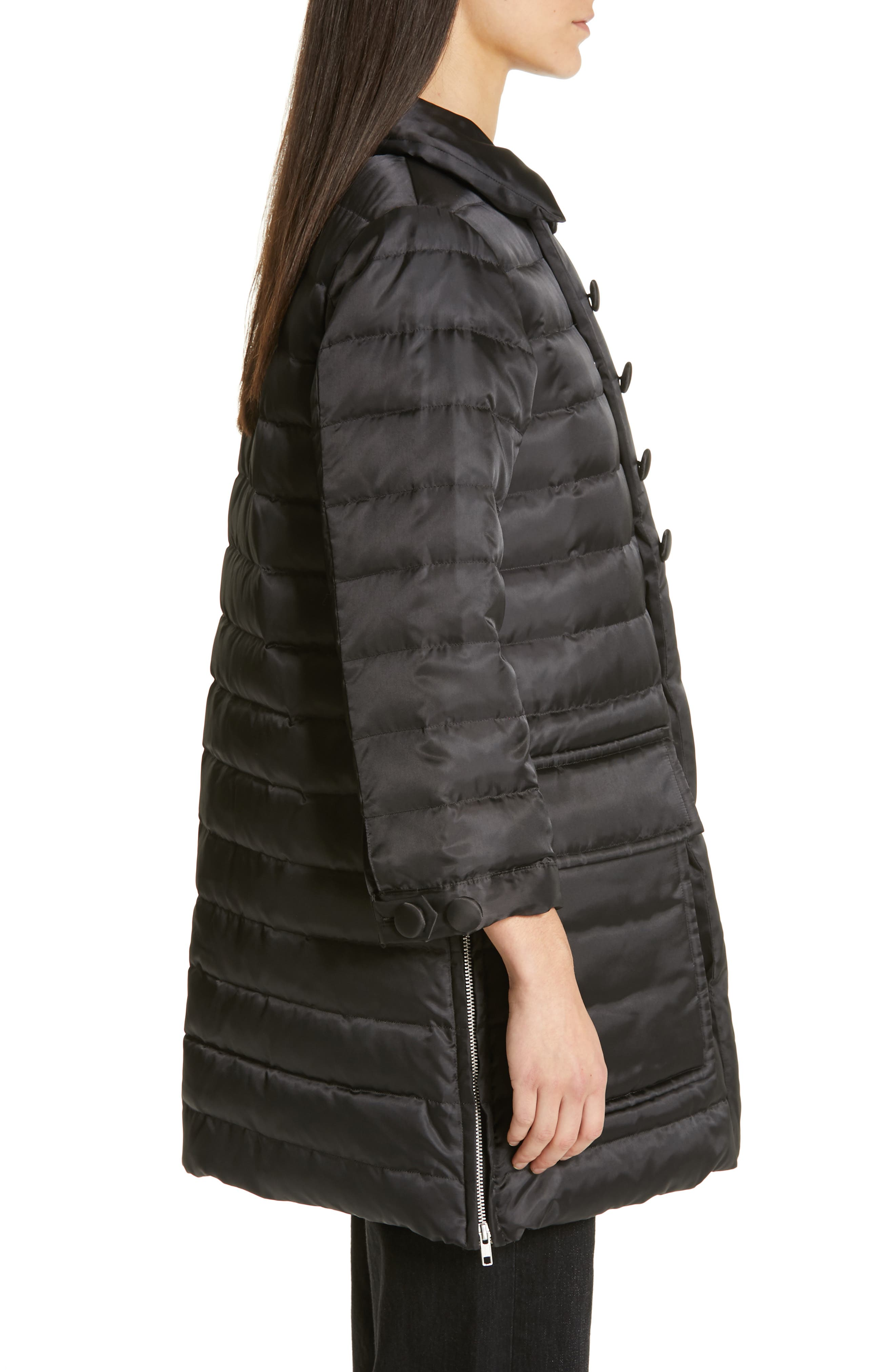 Quilted Down Coat,                             Alternate thumbnail 3, color,                             BLACK