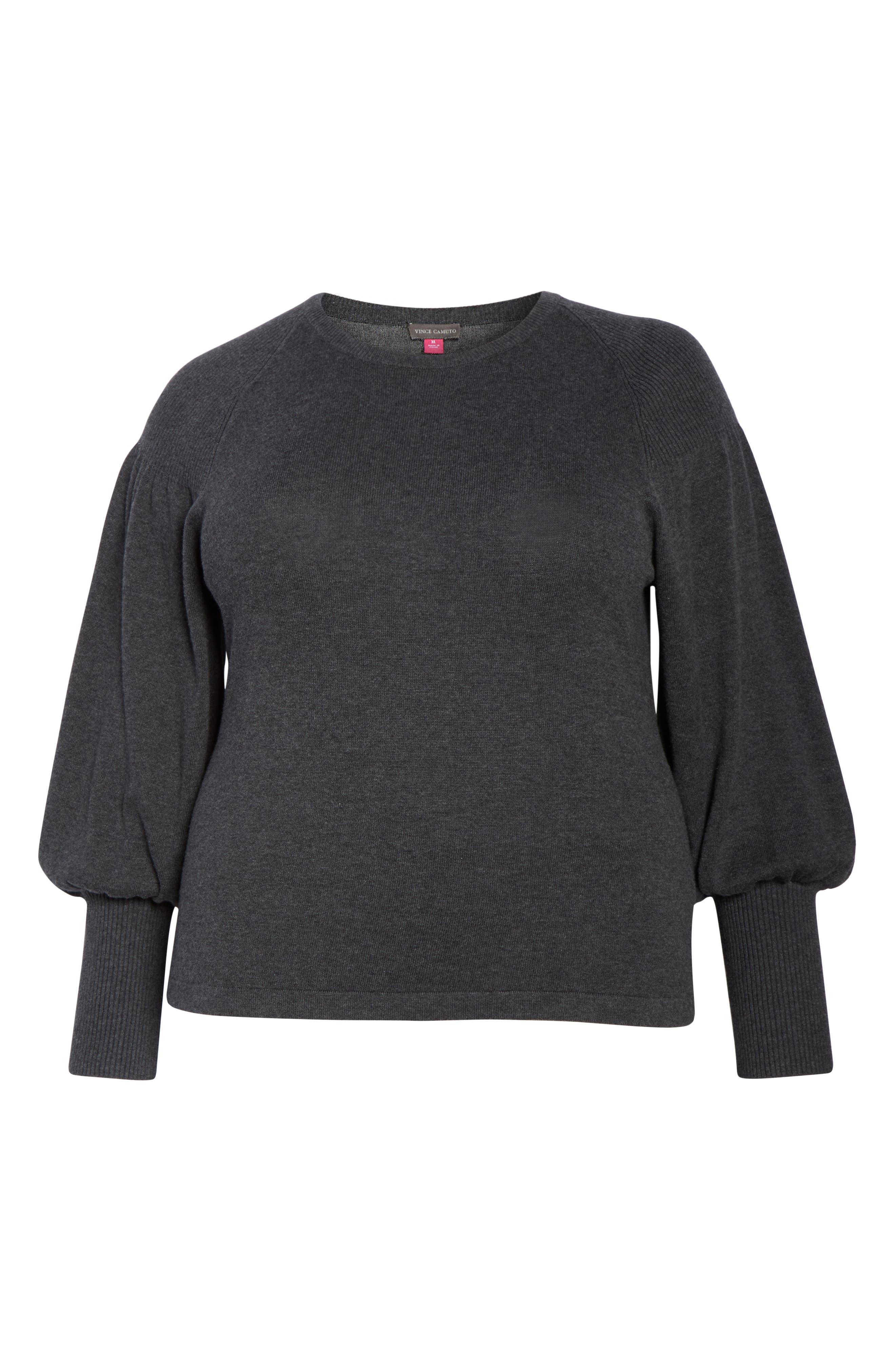 Blouson Sleeve Sweater,                             Alternate thumbnail 8, color,                             MED HEATHER GREY