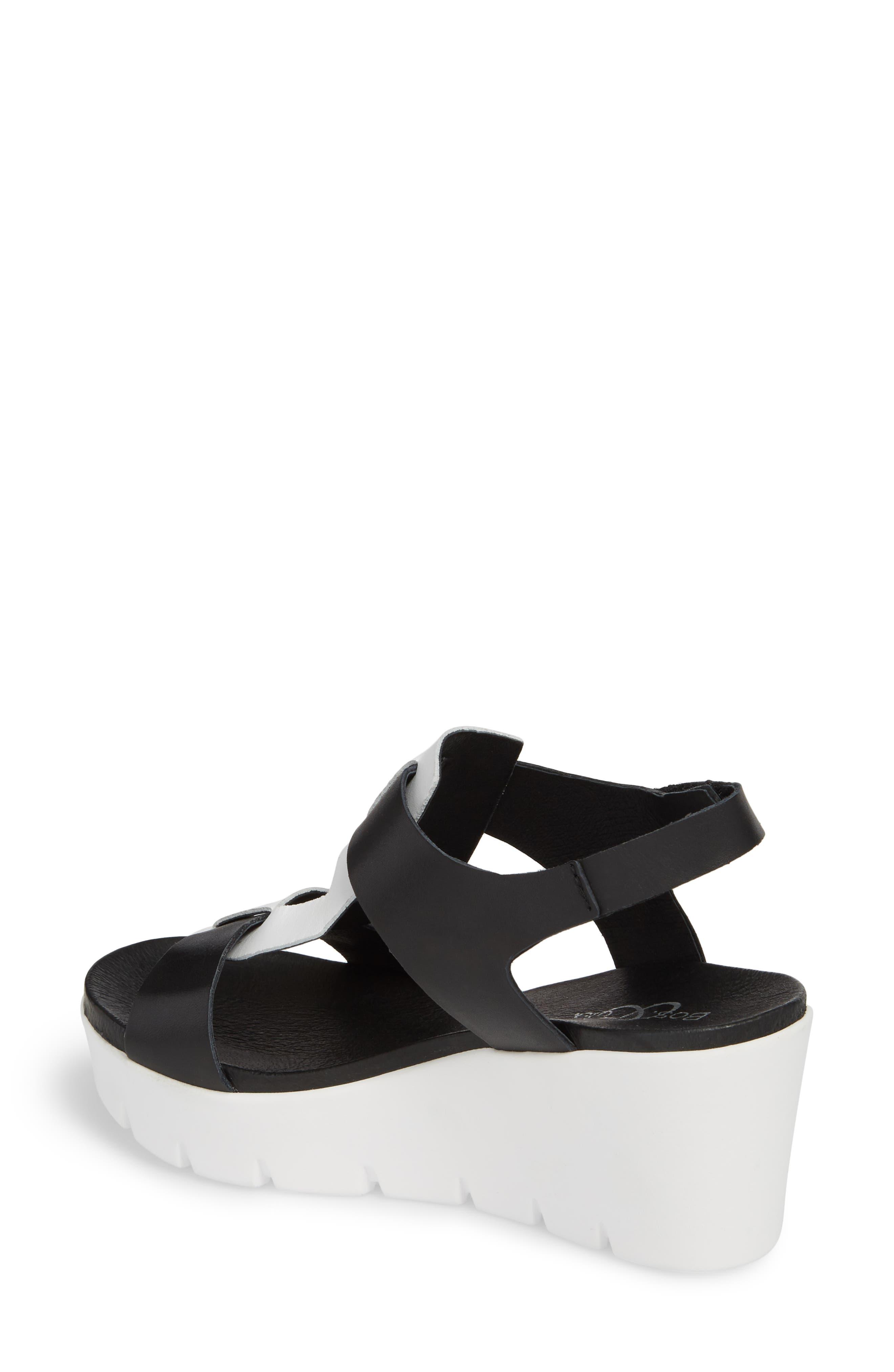 Somo Platform Wedge Sandal,                             Alternate thumbnail 2, color,                             BLACK/ WHITE SMOOTH LEATHER