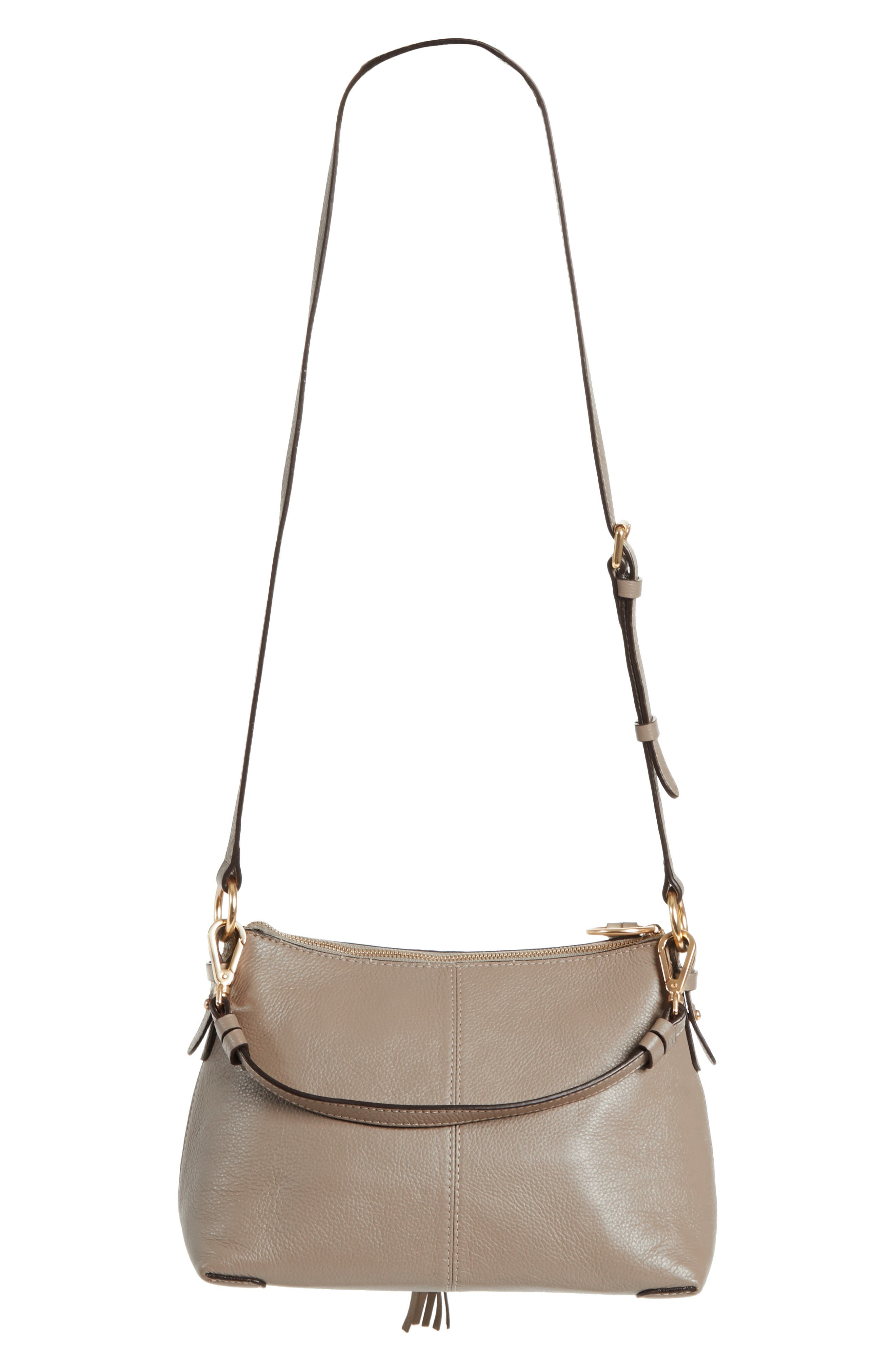 Small Joan Suede & Leather Crossbody Bag,                             Alternate thumbnail 3, color,                             MOTTY GREY
