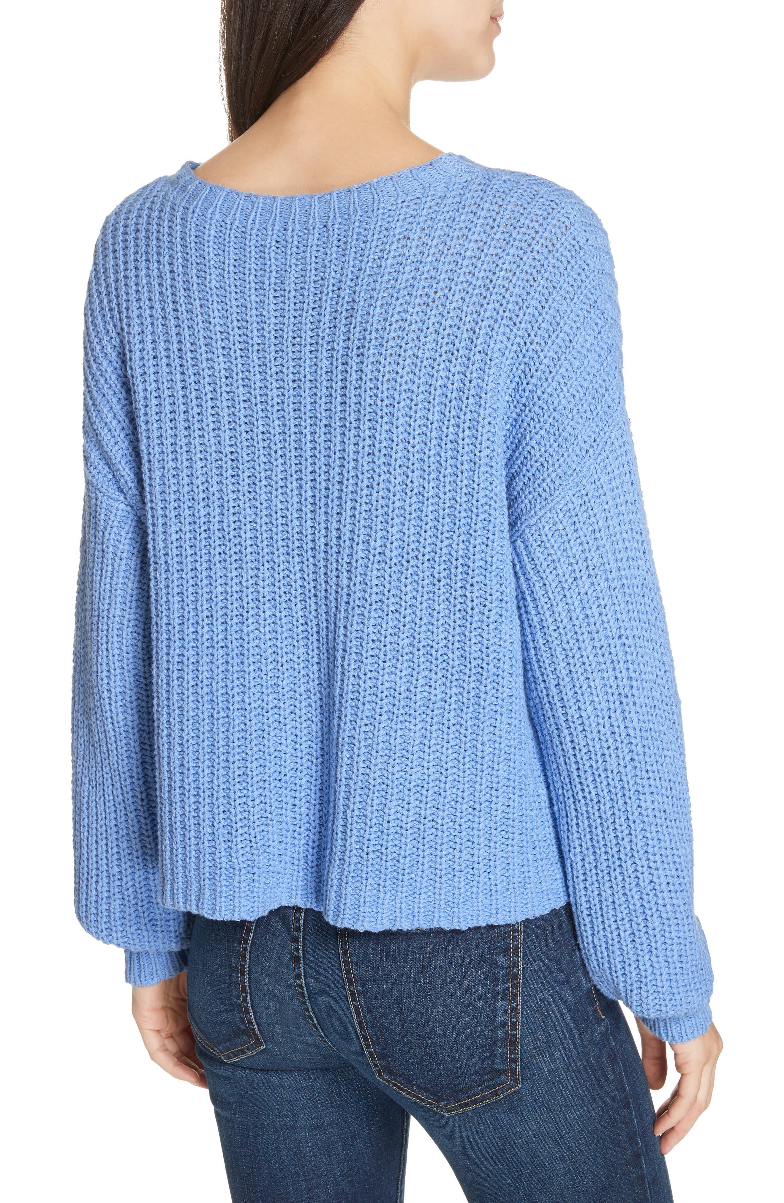 EILEEN FISHER,                             Crewneck Crop Shaker Sweater,                             Alternate thumbnail 2, color,                             BLUEBIRD