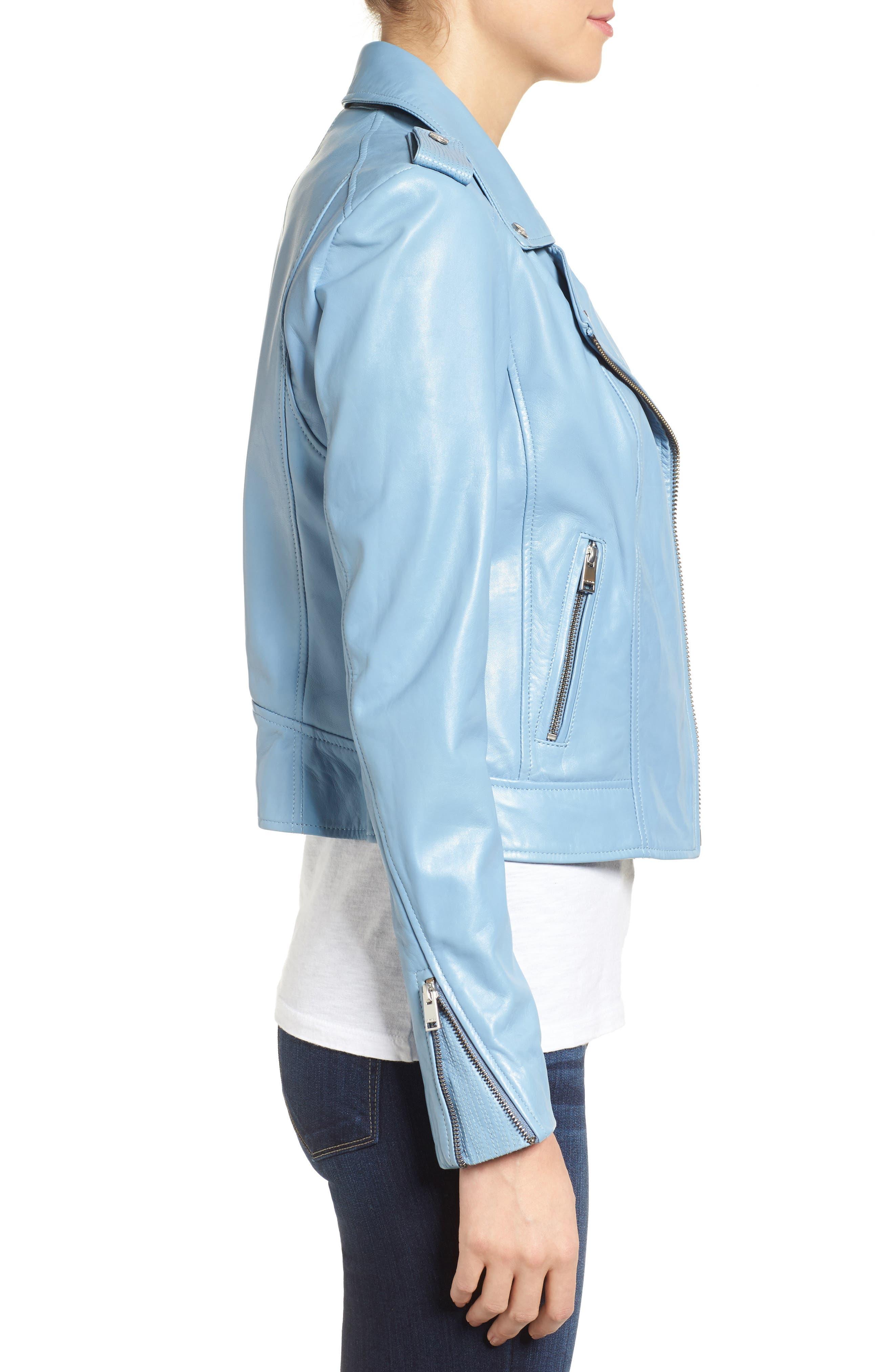 Donna Lambskin Leather Moto Jacket,                             Alternate thumbnail 3, color,                             POWDER BLUE