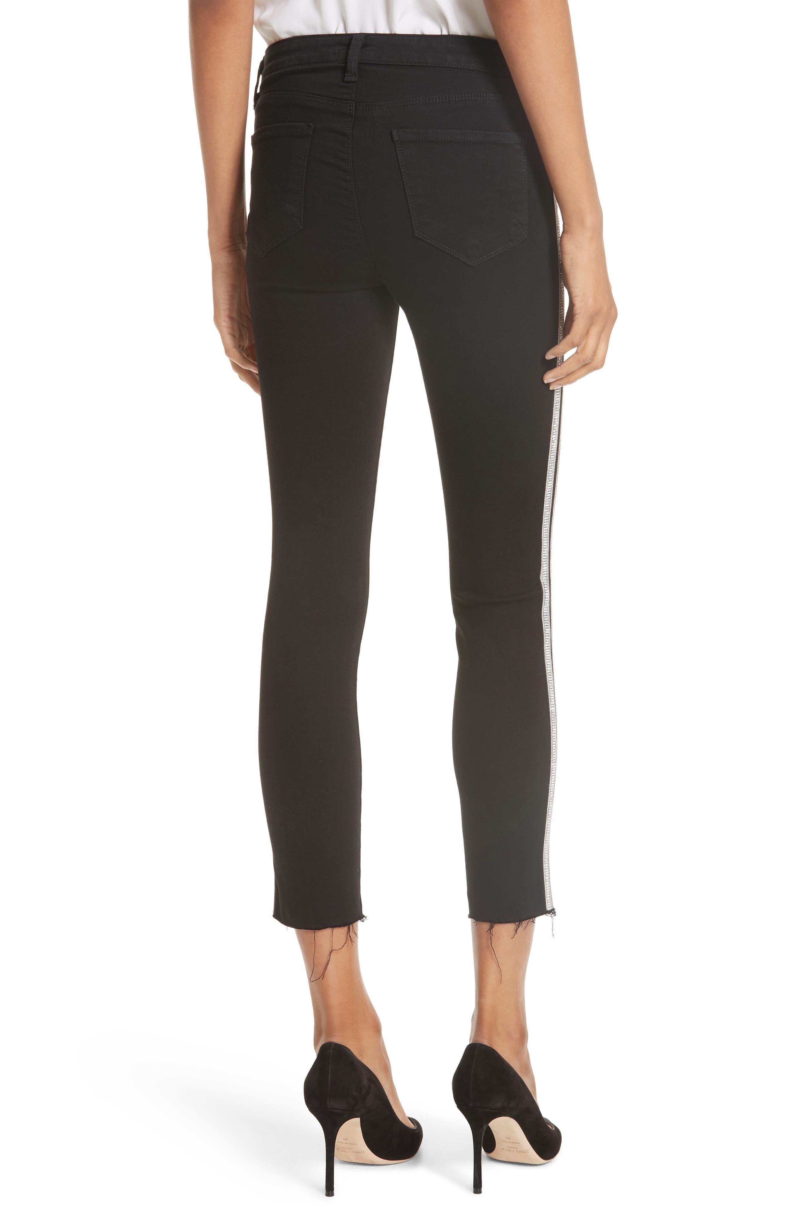L'AGENCE,                             Margot Embellished Side Stripe Crop Skinny Jeans,                             Alternate thumbnail 2, color,                             NOIR