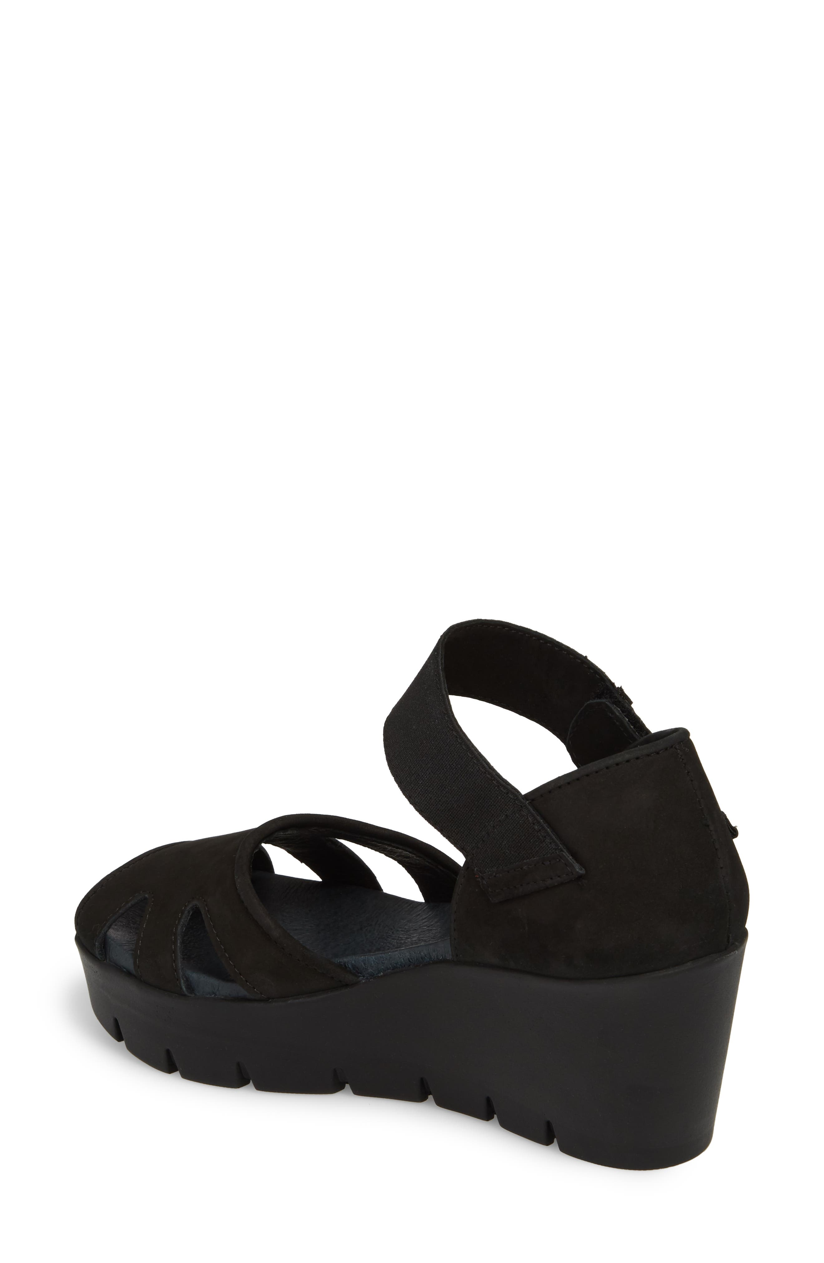 Sharon Platform Wedge Sandal,                             Alternate thumbnail 2, color,                             BLACK NUBUCK LEATHER