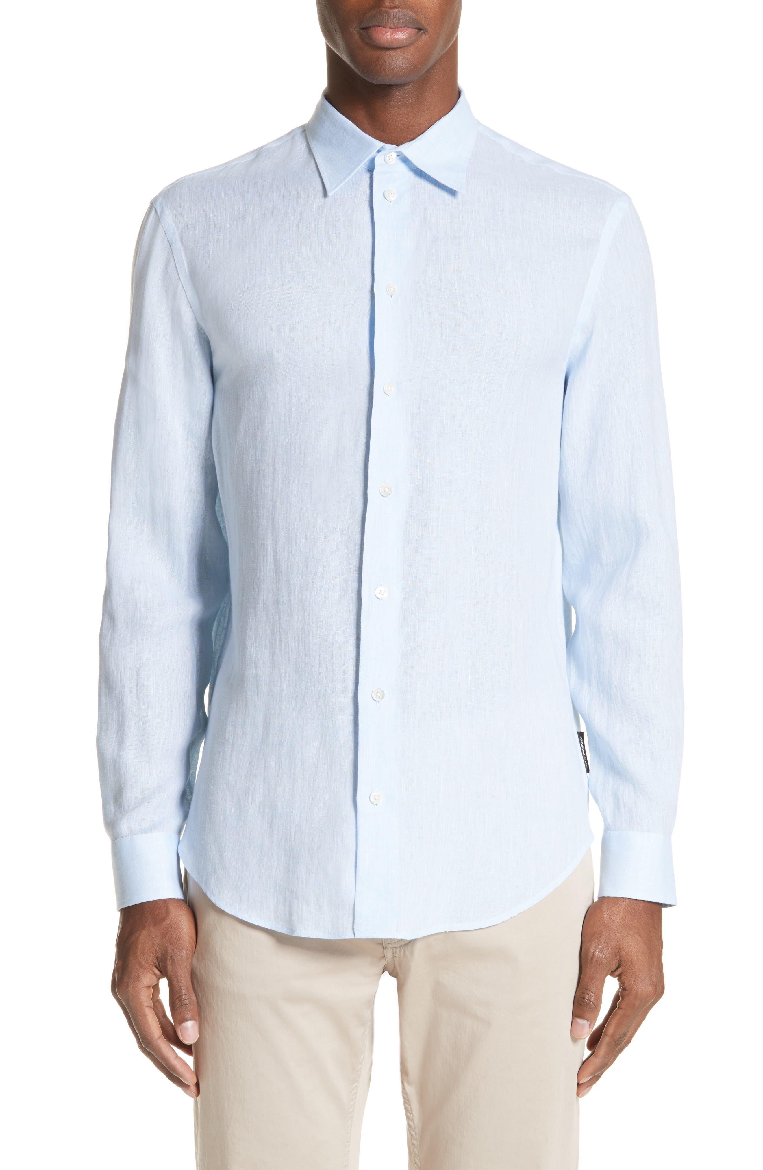 Regular Fit Linen Dress Shirt,                             Main thumbnail 2, color,