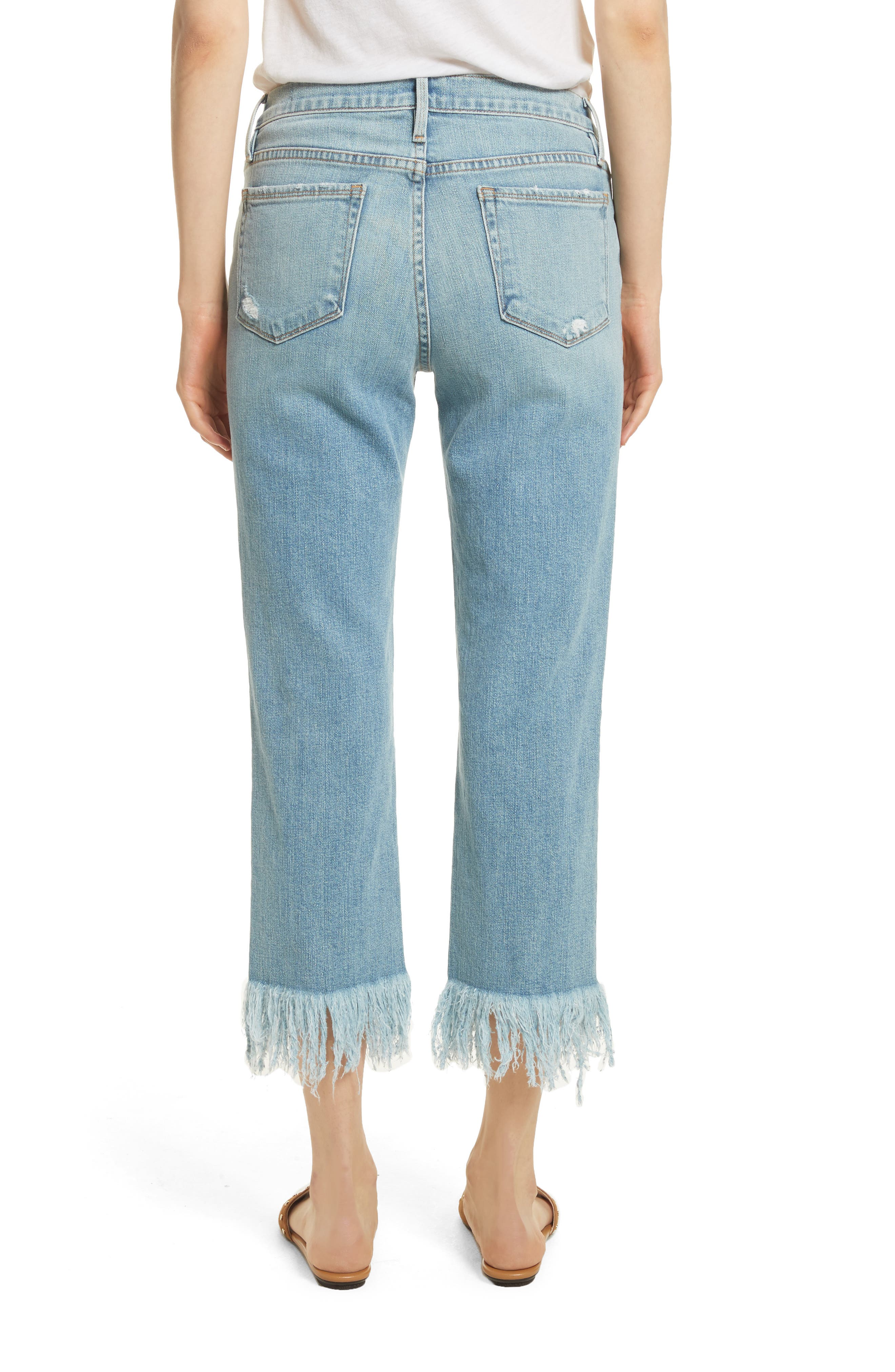Le Nouveau Shredded Straight Leg Crop Jeans,                             Alternate thumbnail 2, color,                             450