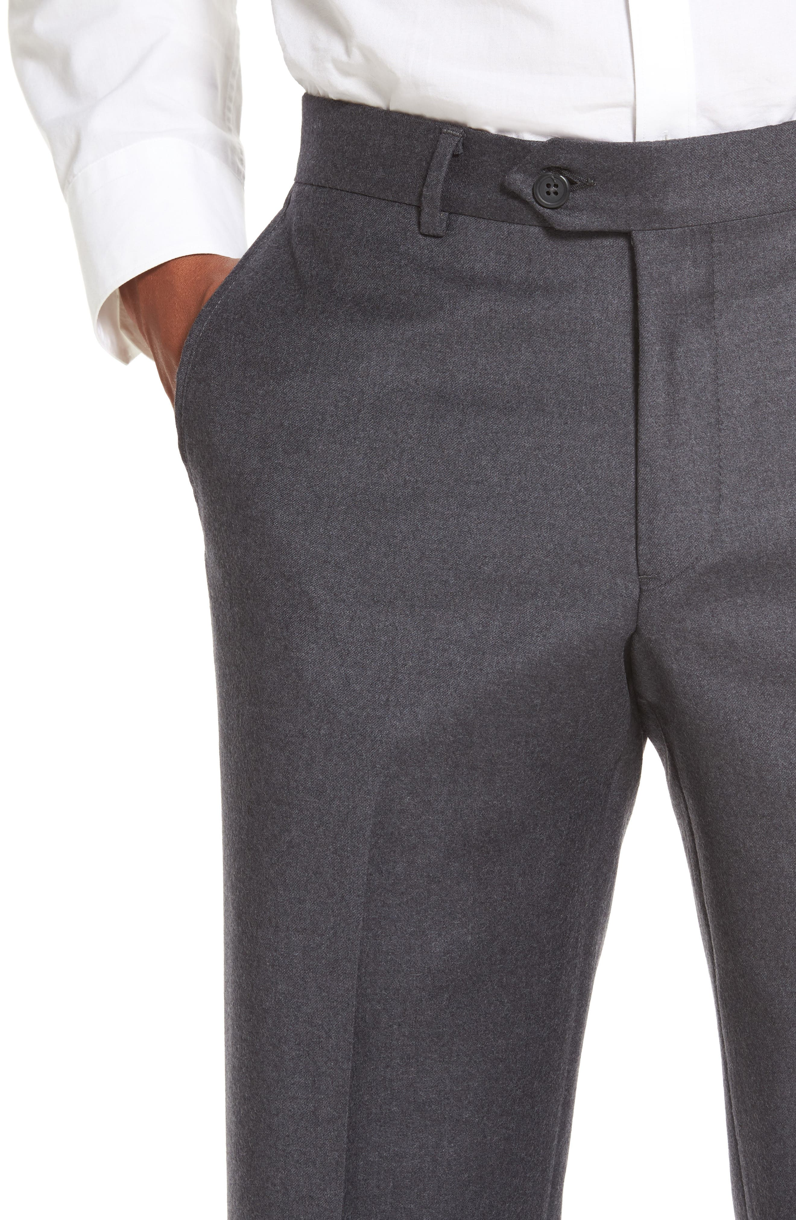Flat Front Solid Wool Trousers,                             Alternate thumbnail 5, color,                             020