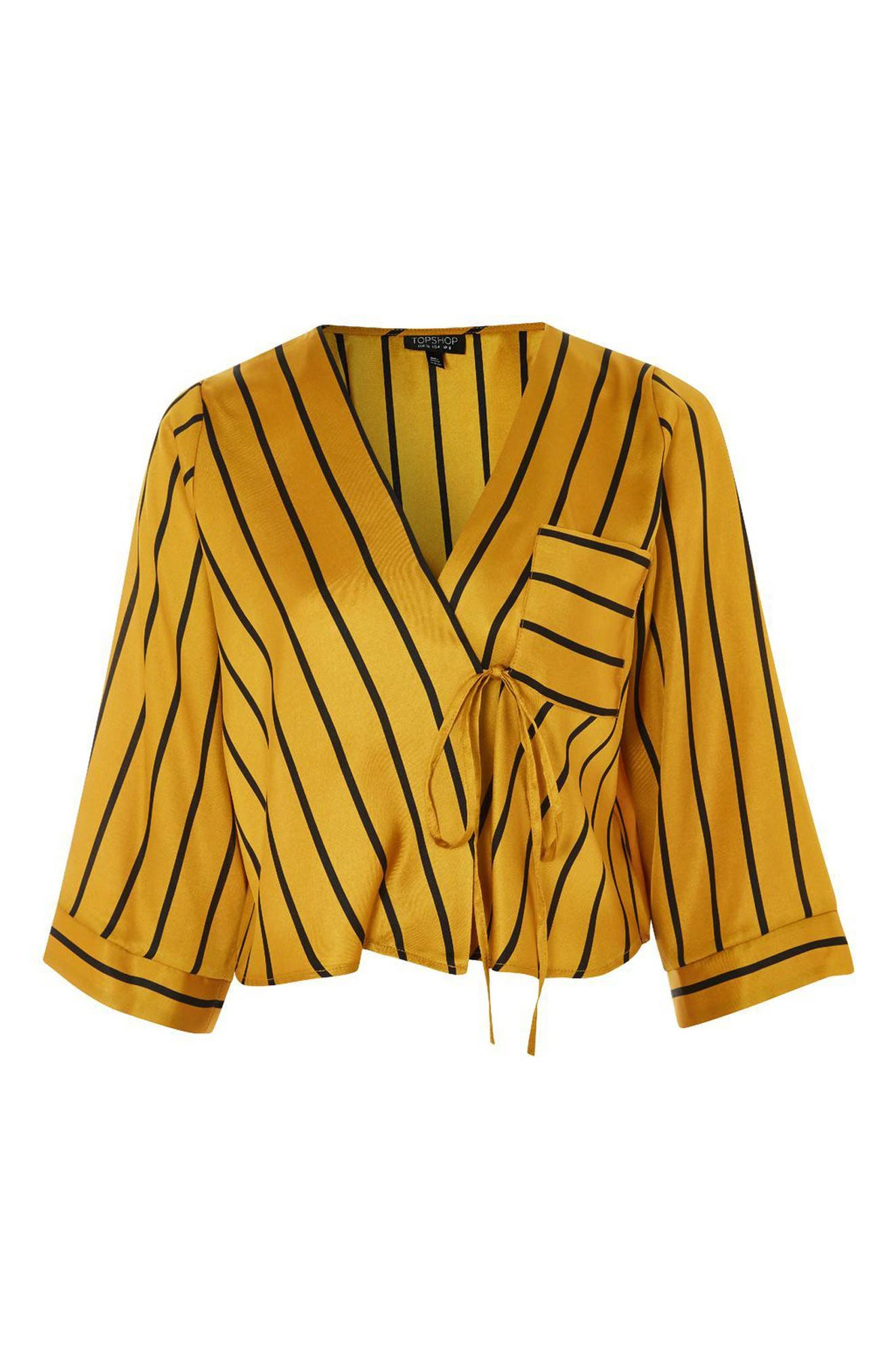 Stripe Tie Wrap Kimono Top,                             Alternate thumbnail 6, color,