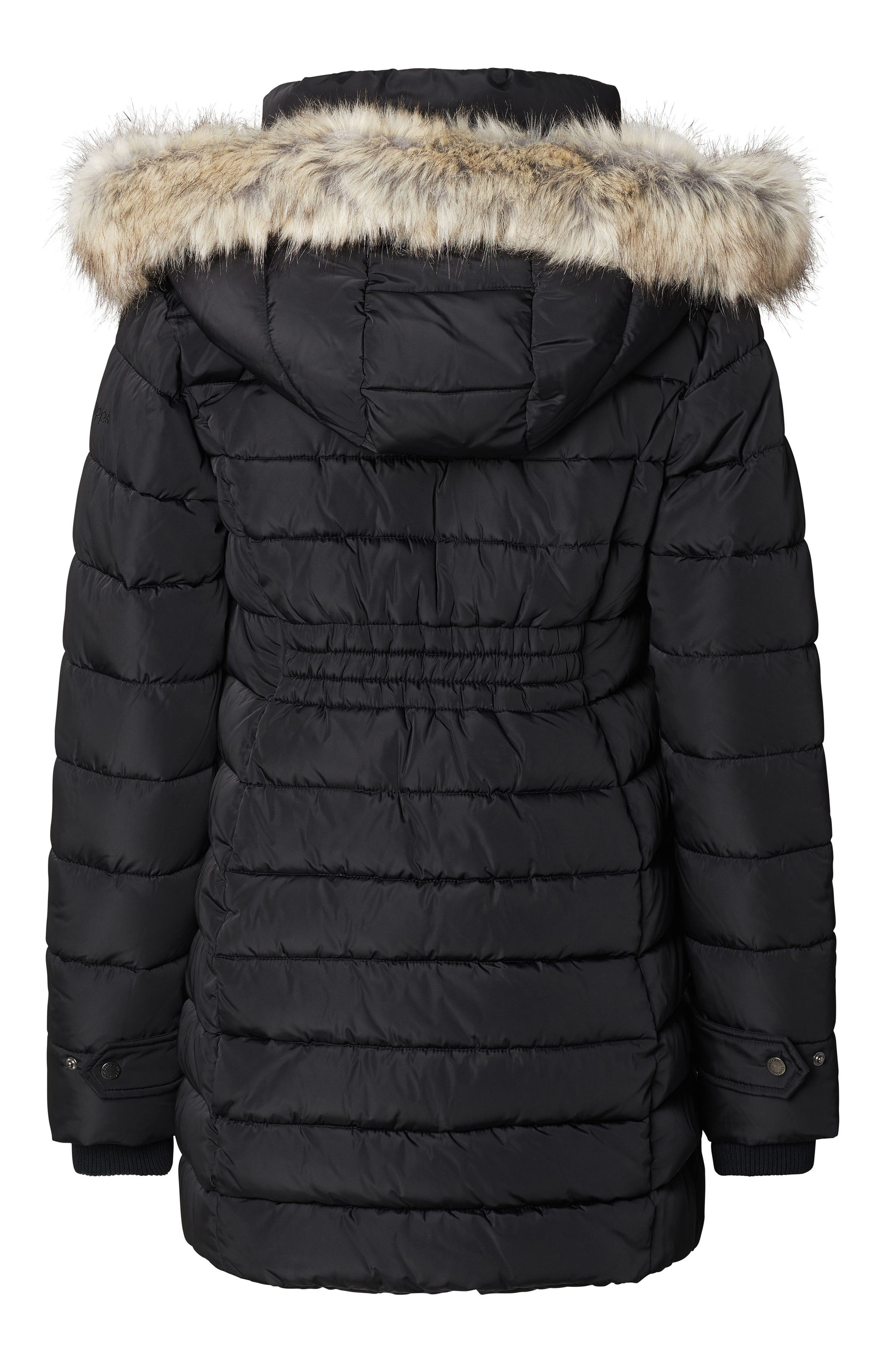 Bella Two-Way Quilted Maternity Coat with Faux Fur Trim,                             Alternate thumbnail 2, color,                             BLACK