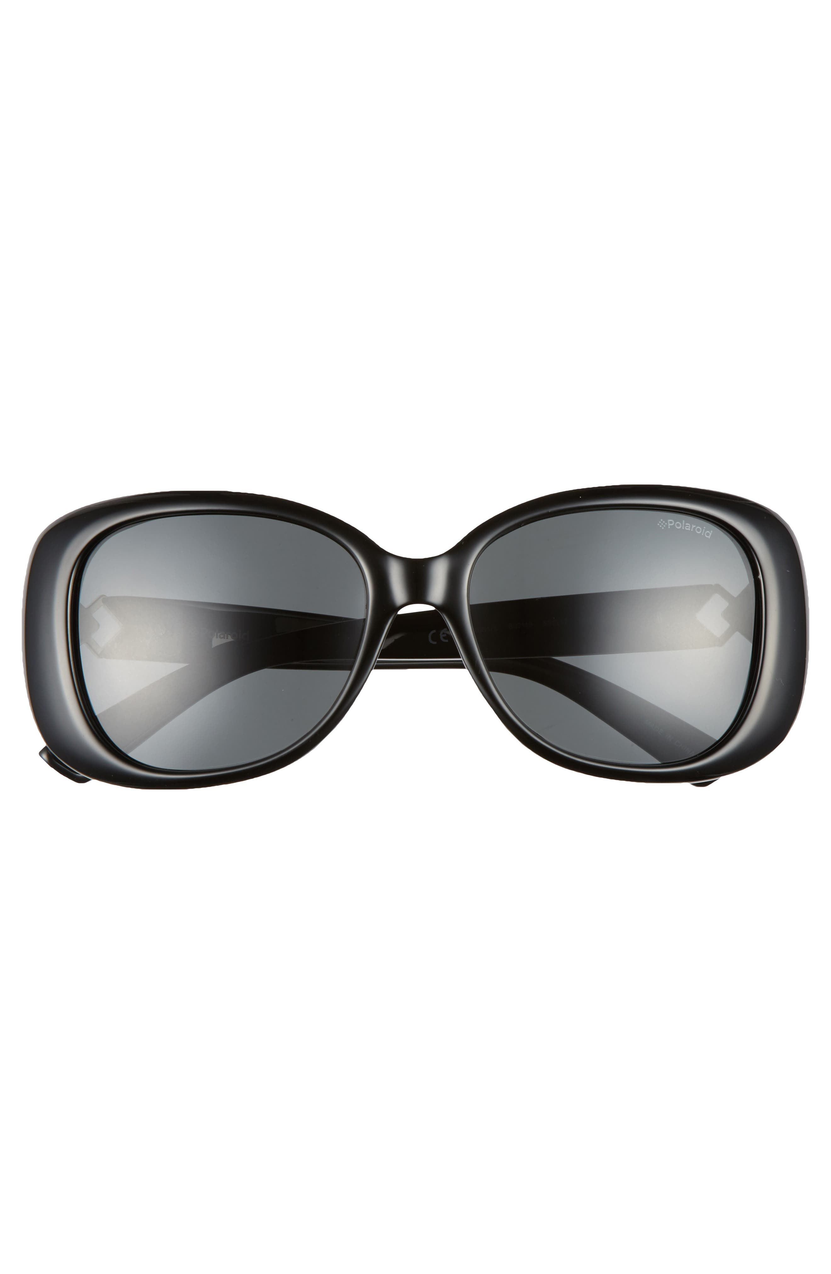 55mm Polarized Butterfly Sunglasses,                             Alternate thumbnail 3, color,                             001