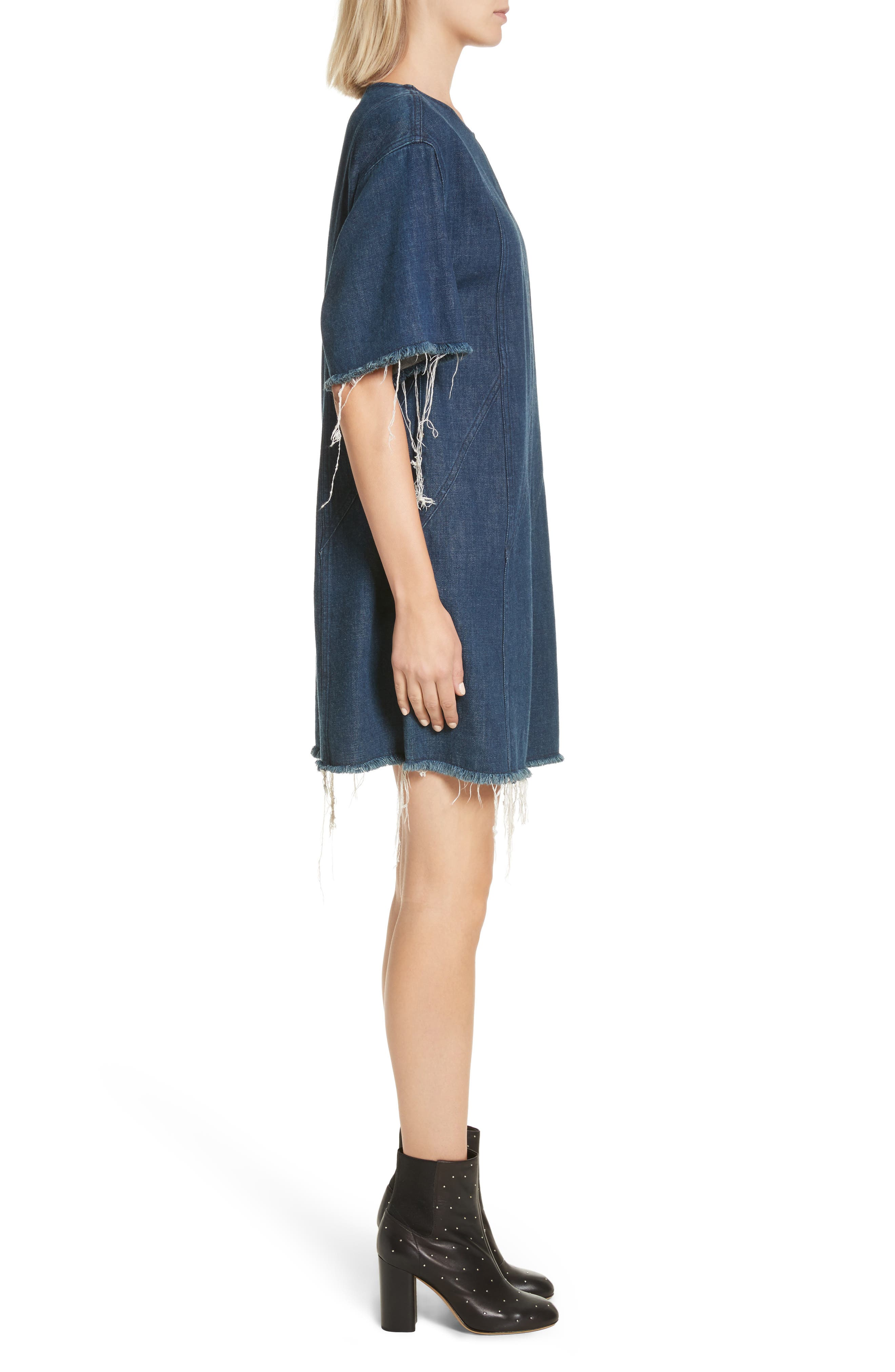 Kelly Denim Minidress,                             Alternate thumbnail 3, color,                             470