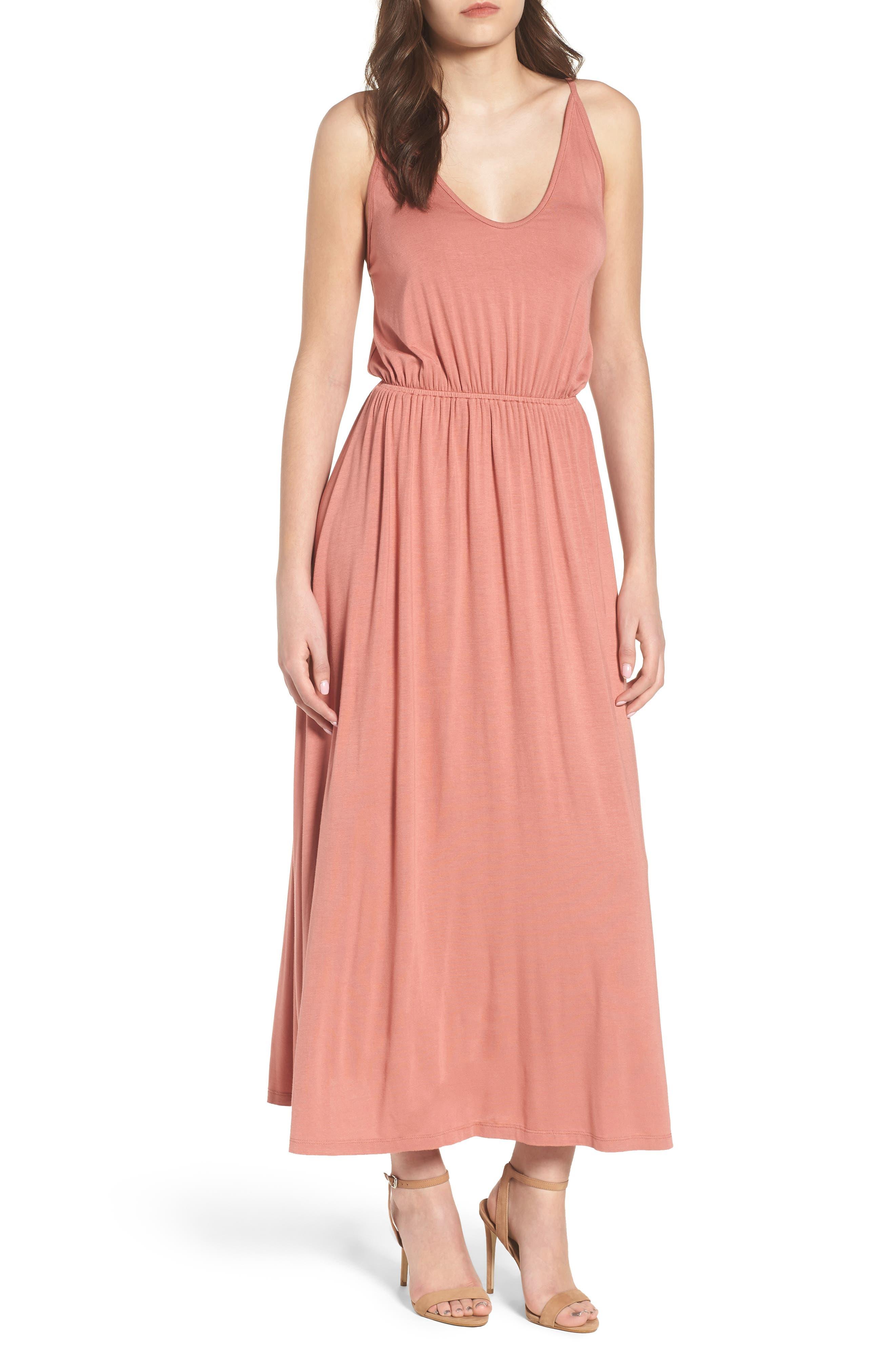 V-Neck Maxi Dress,                             Main thumbnail 2, color,