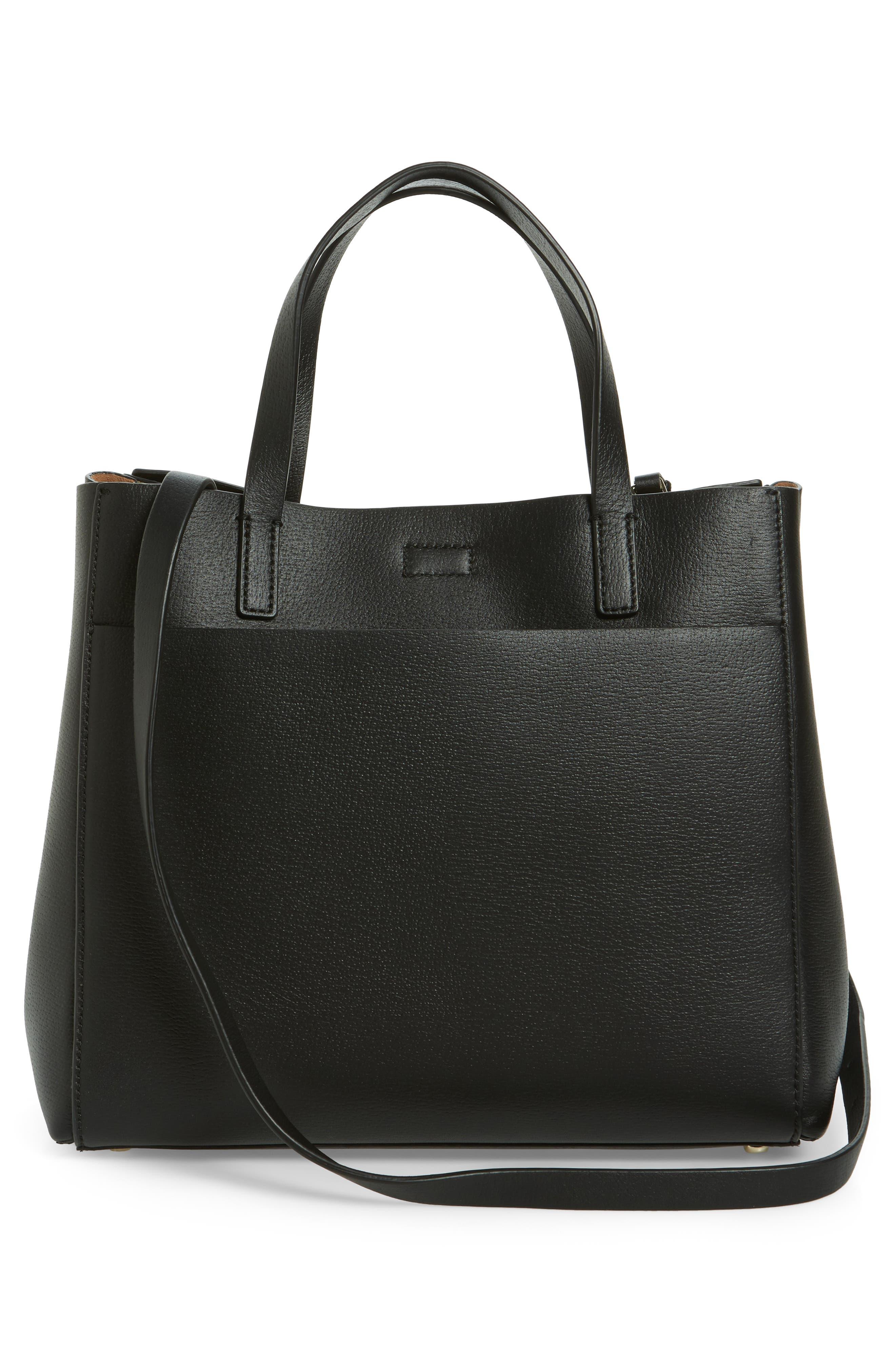 olive drive - brigette leather satchel,                             Alternate thumbnail 3, color,                             001