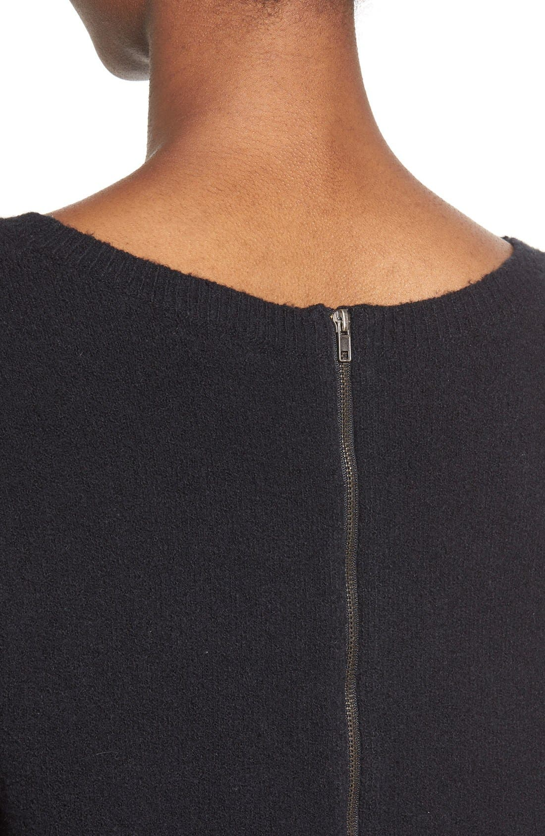 Back Zip High/Low Sweater,                             Alternate thumbnail 9, color,                             001
