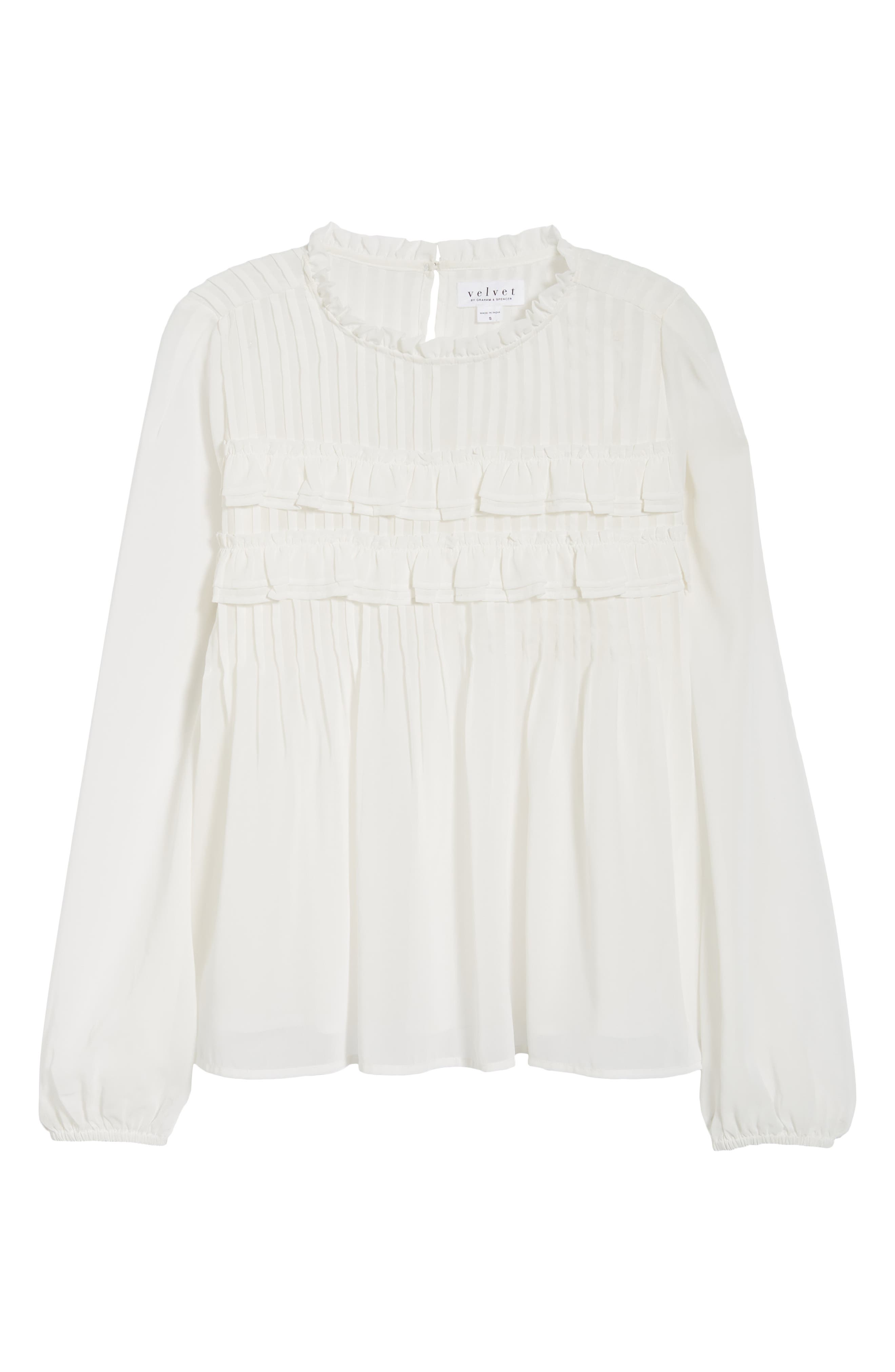Pintucked Chiffon Blouse,                             Alternate thumbnail 6, color,                             OFF WHITE