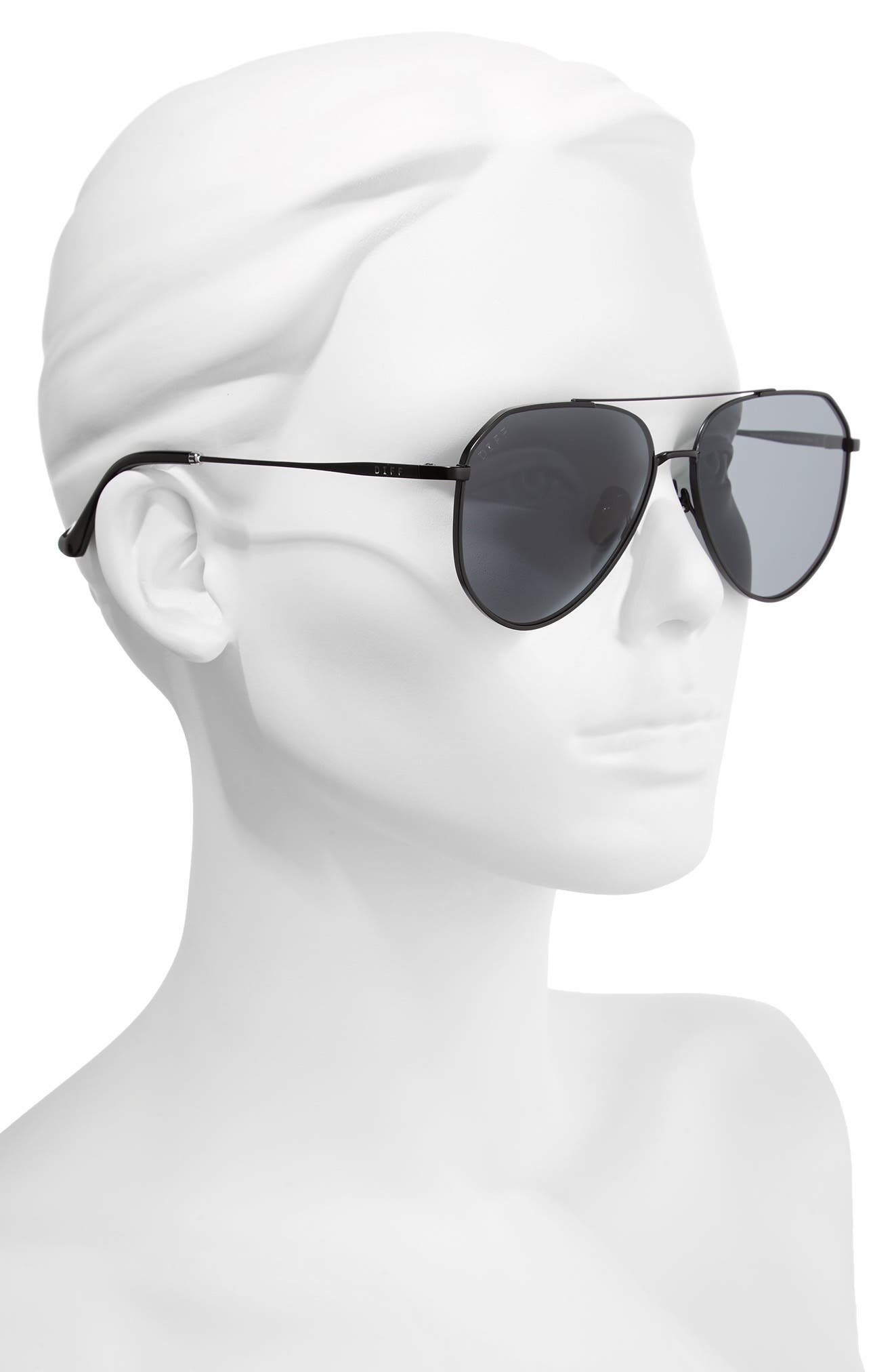 x Jessie James Decker Dash 61mm Polarized Aviator Sunglasses,                             Alternate thumbnail 2, color,                             BLACK/ GREY