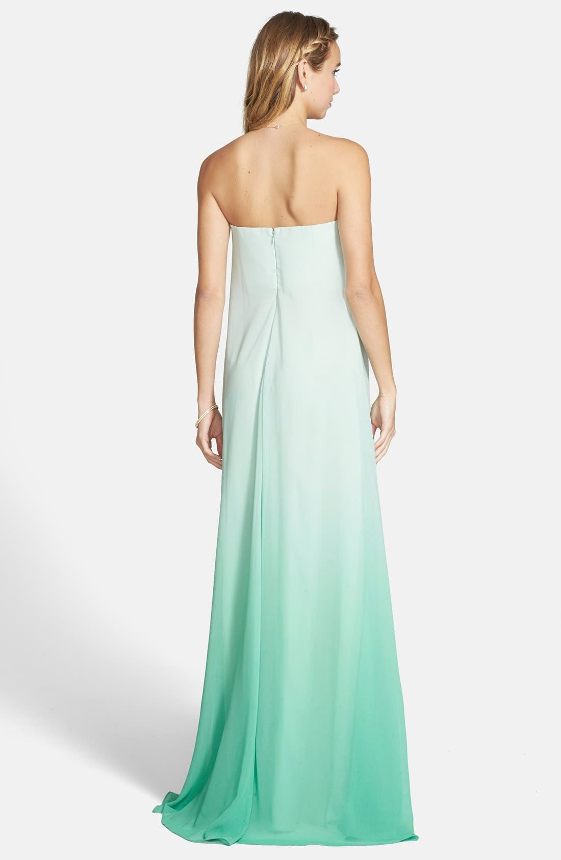 ERIN ERIN FETHERSTON,                             'Daria' Ombré Chiffon A-Line Gown,                             Alternate thumbnail 2, color,                             303