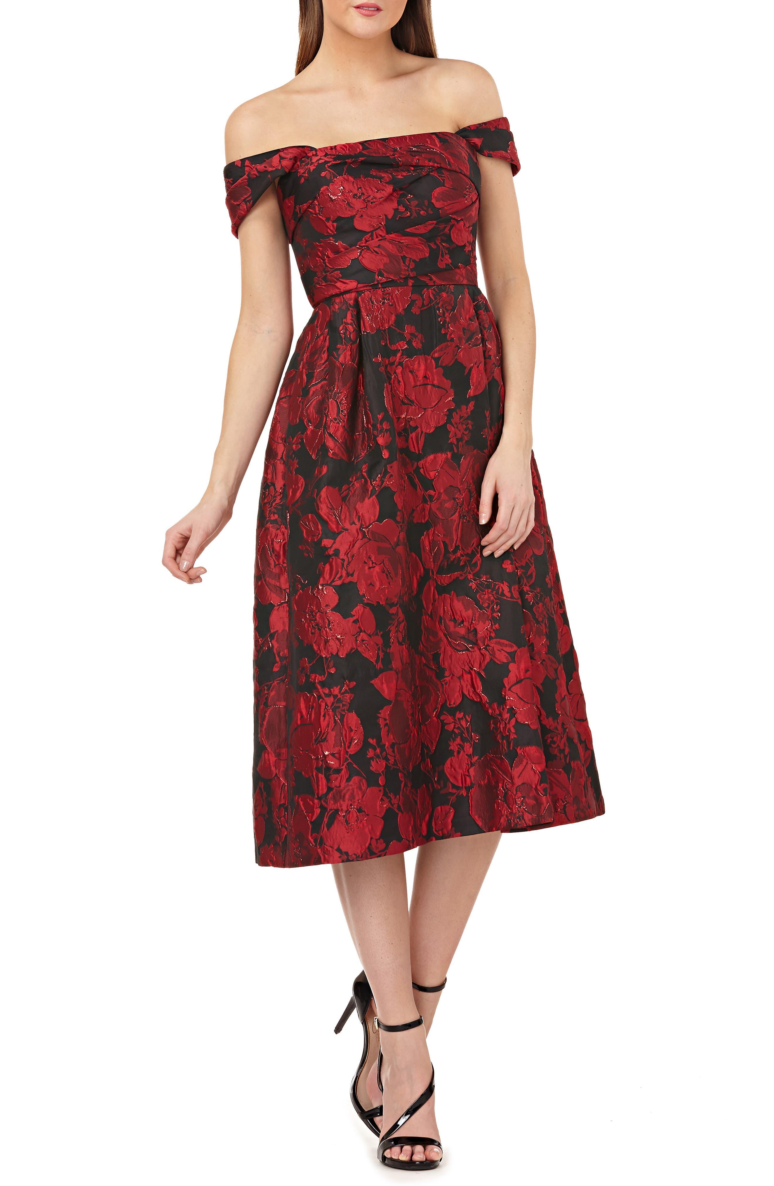 CARMEN MARC VALVO INFUSION Floral Brocade Off-The-Shoulder A-Line Dress in Red/Black