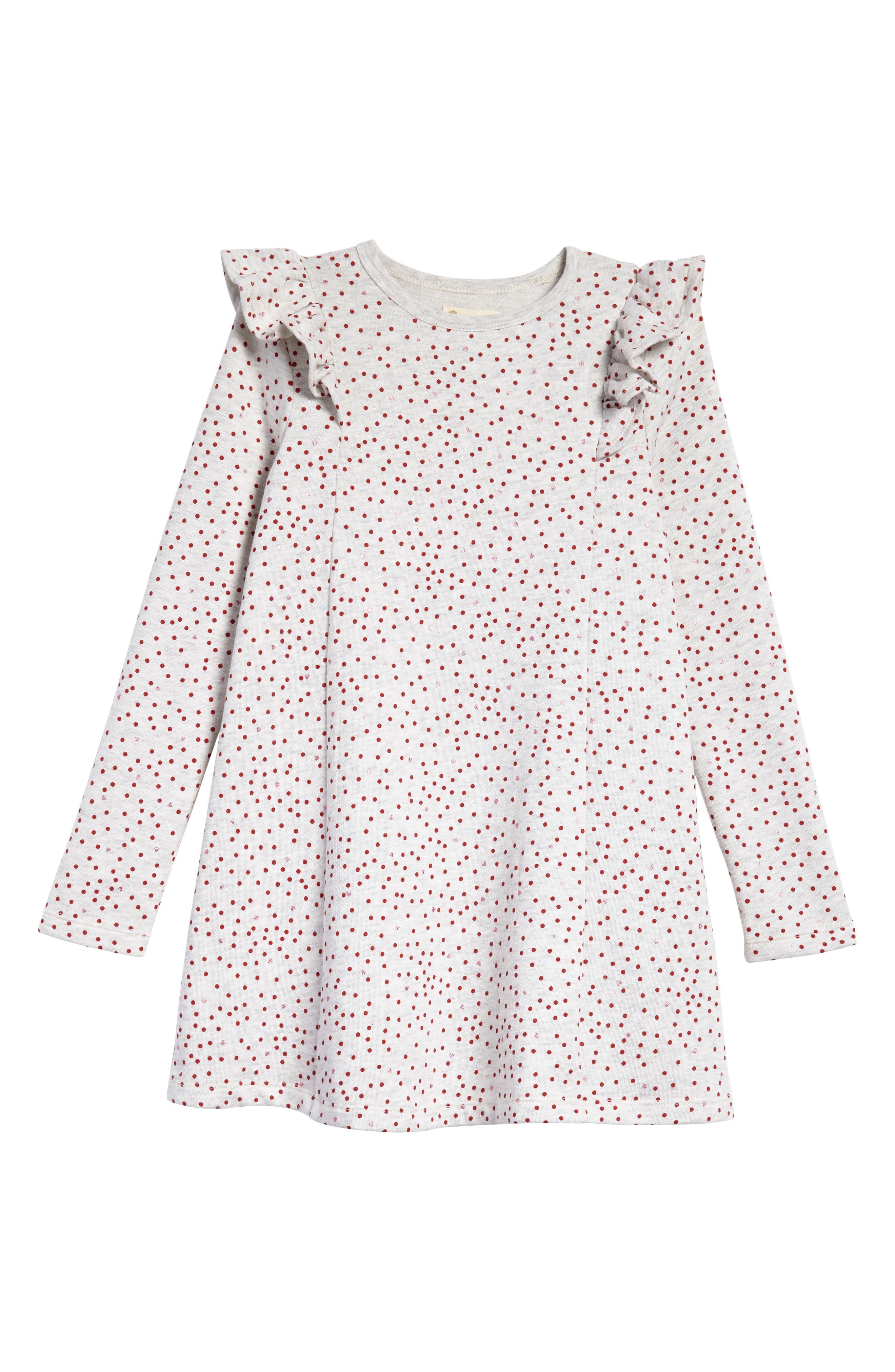 Ruffle Fleece Sweater Dress,                             Main thumbnail 1, color,                             IVORY EGRET HEATHER HEARTS