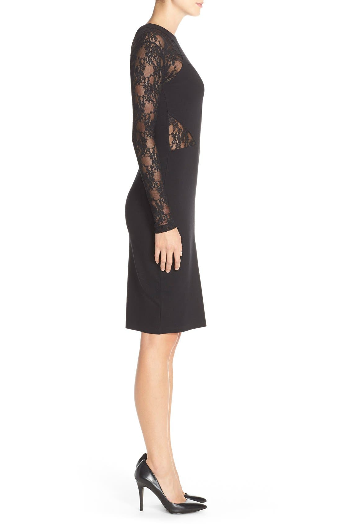 'Viven' Lace & Jersey Sheath Dress,                             Alternate thumbnail 3, color,                             001