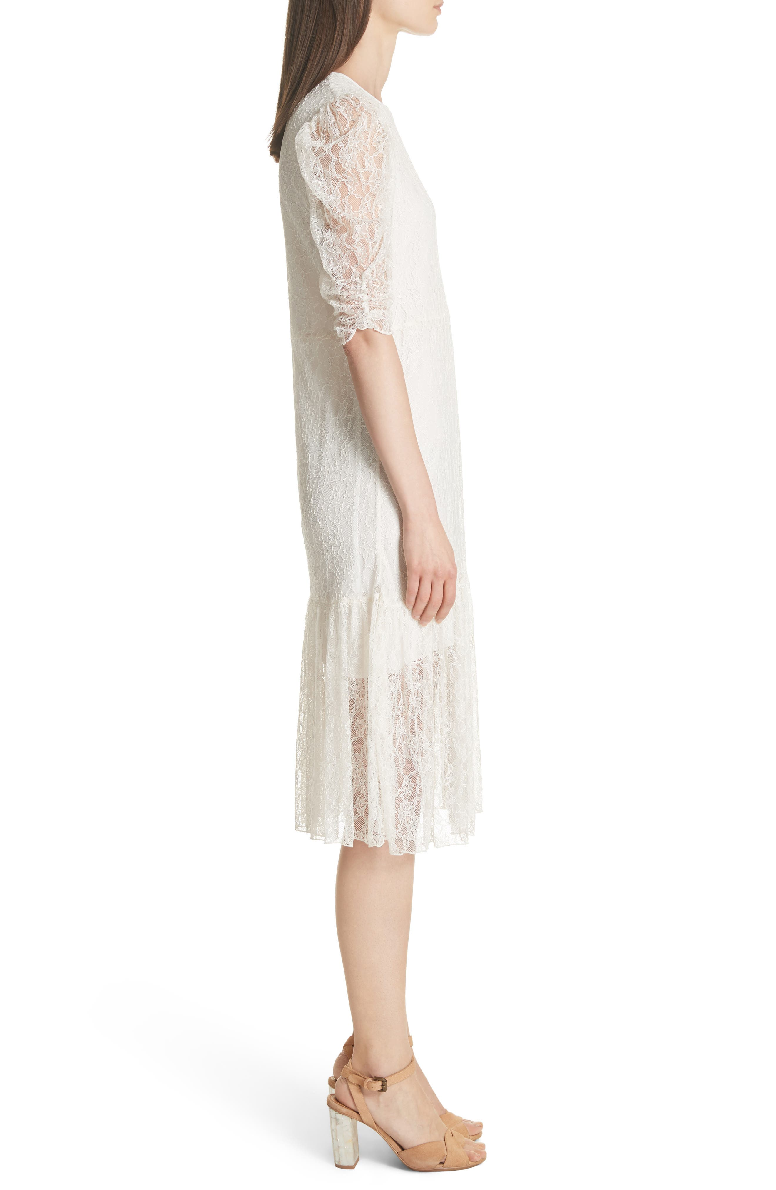 Lace Dress,                             Alternate thumbnail 3, color,                             WHITE