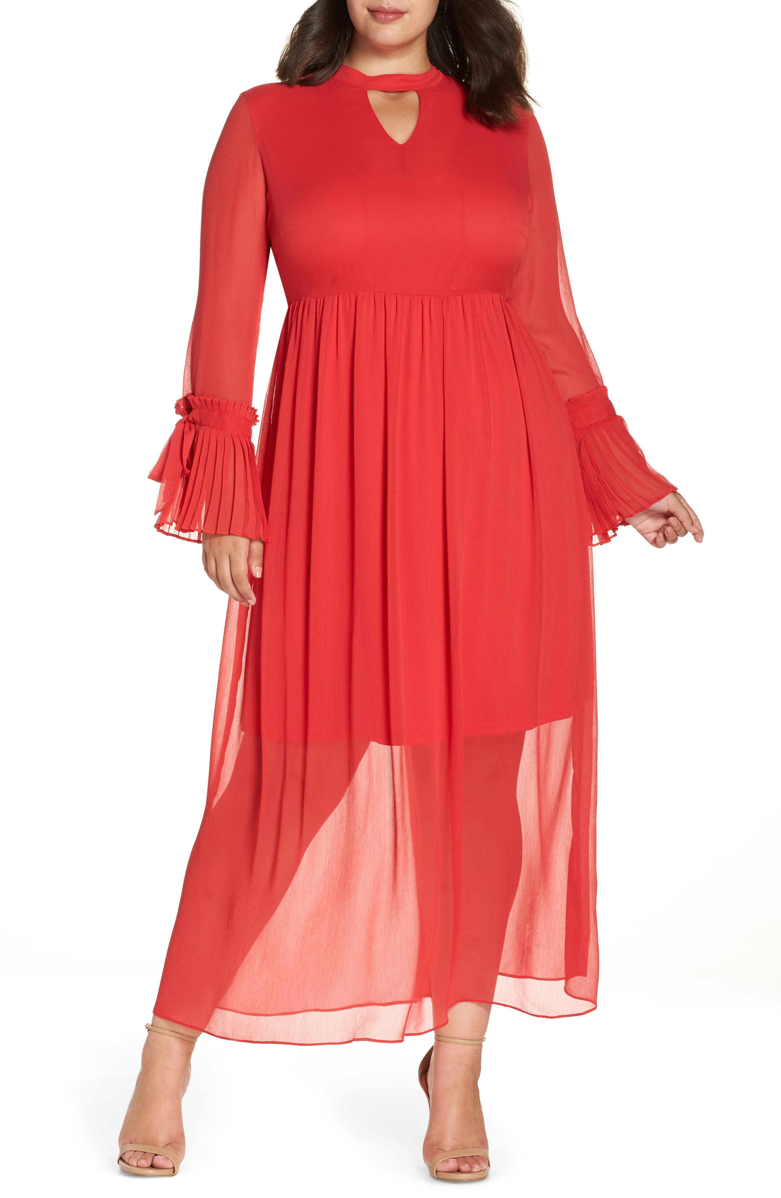 Pleated Maxi Dress,                         Main,                         color, PINK