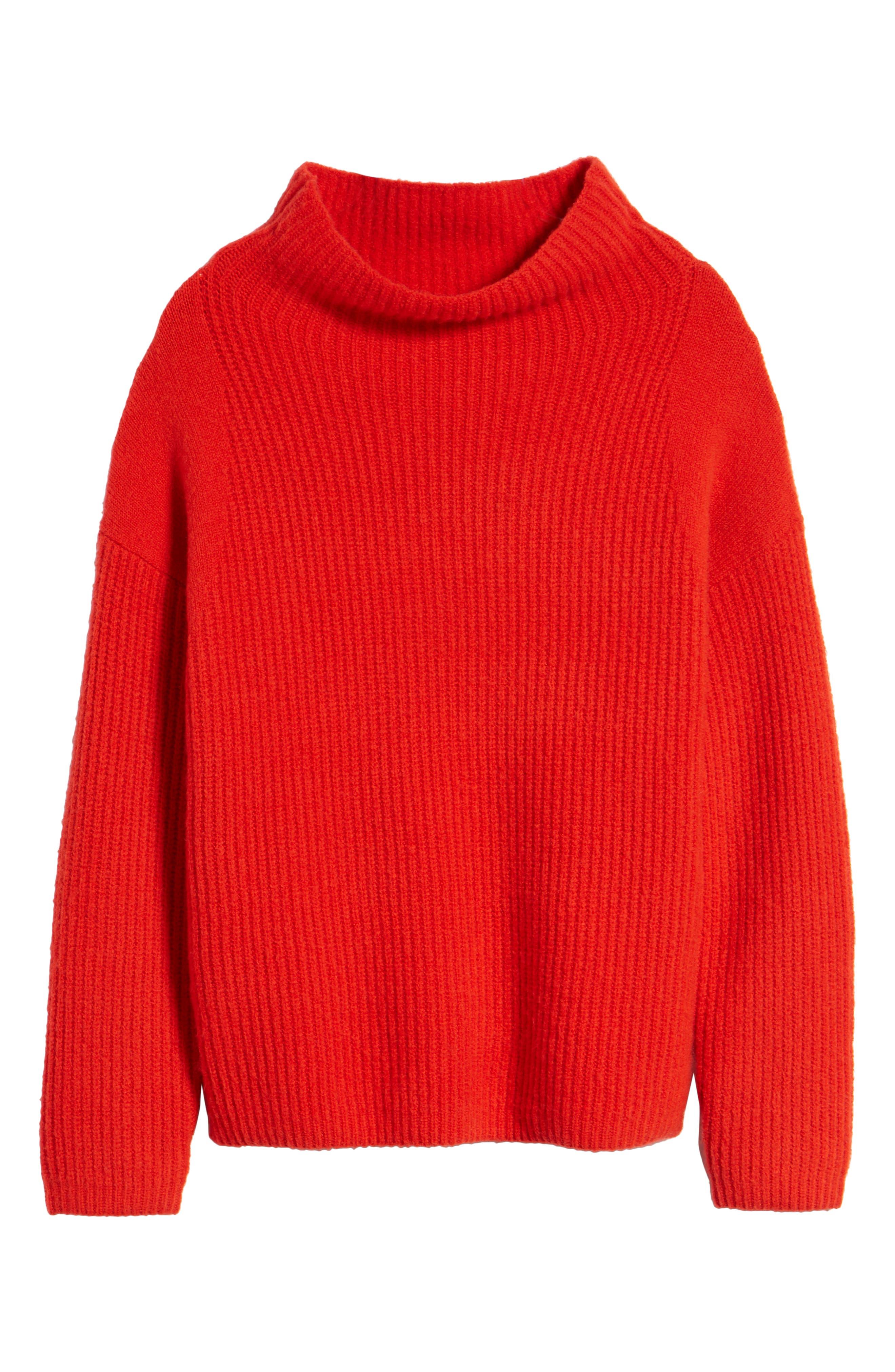 Rib Funnel Neck Sweater,                             Alternate thumbnail 7, color,                             610