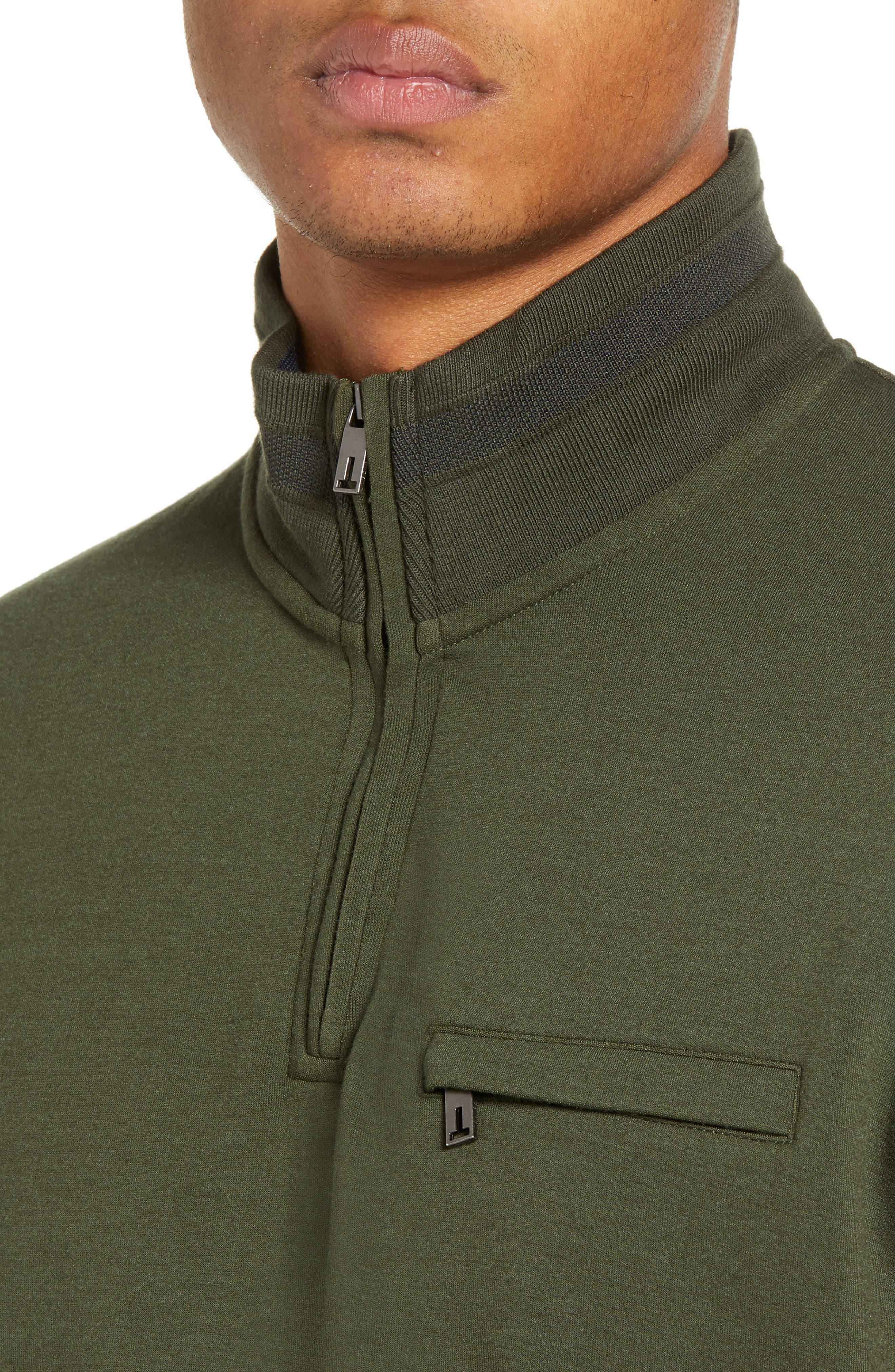 Leevit Quarter Zip Pullover,                             Alternate thumbnail 4, color,                             KHAKI
