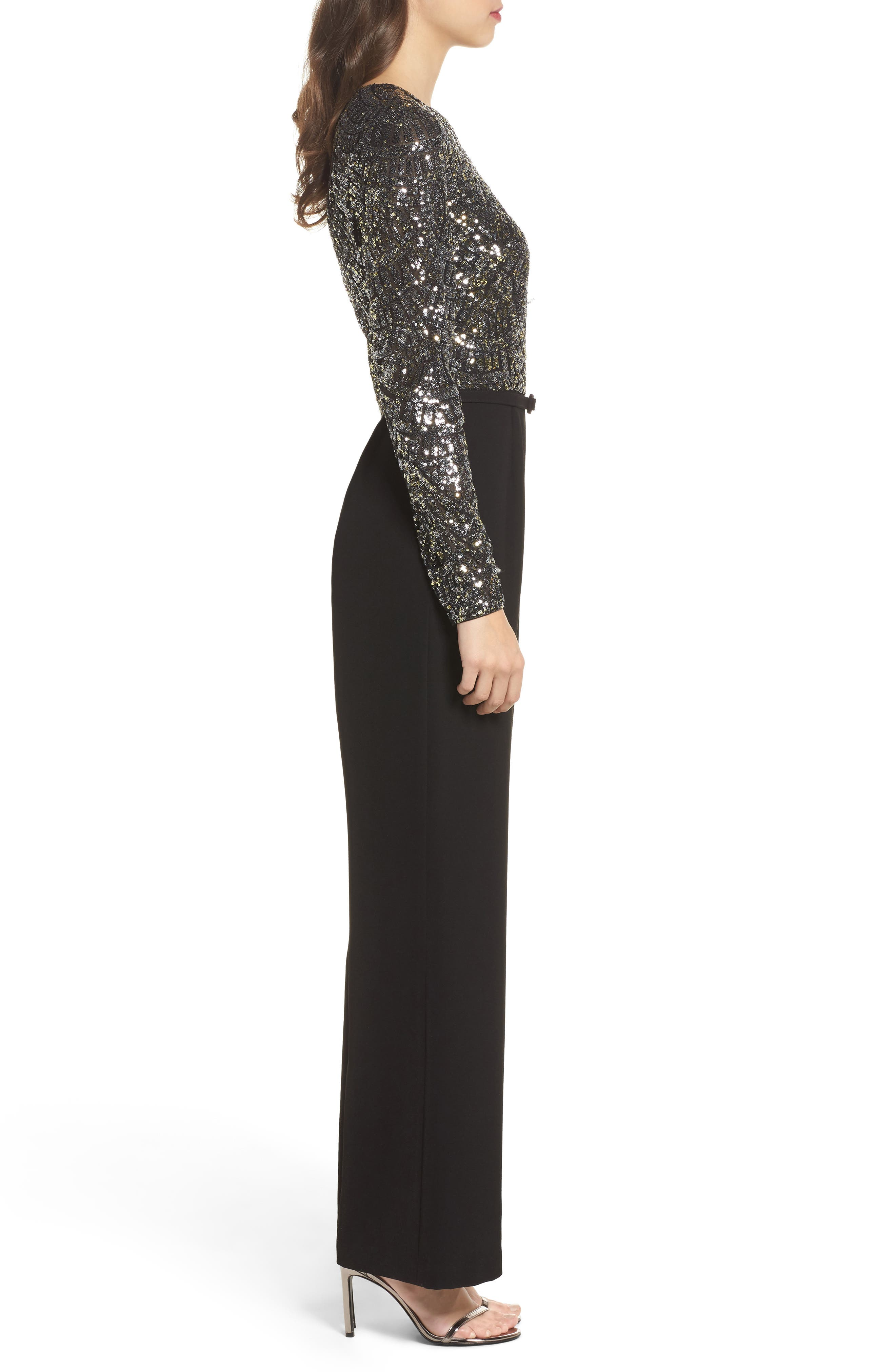 Belted Sequin & Crepe Jumpsuit,                             Alternate thumbnail 3, color,                             046