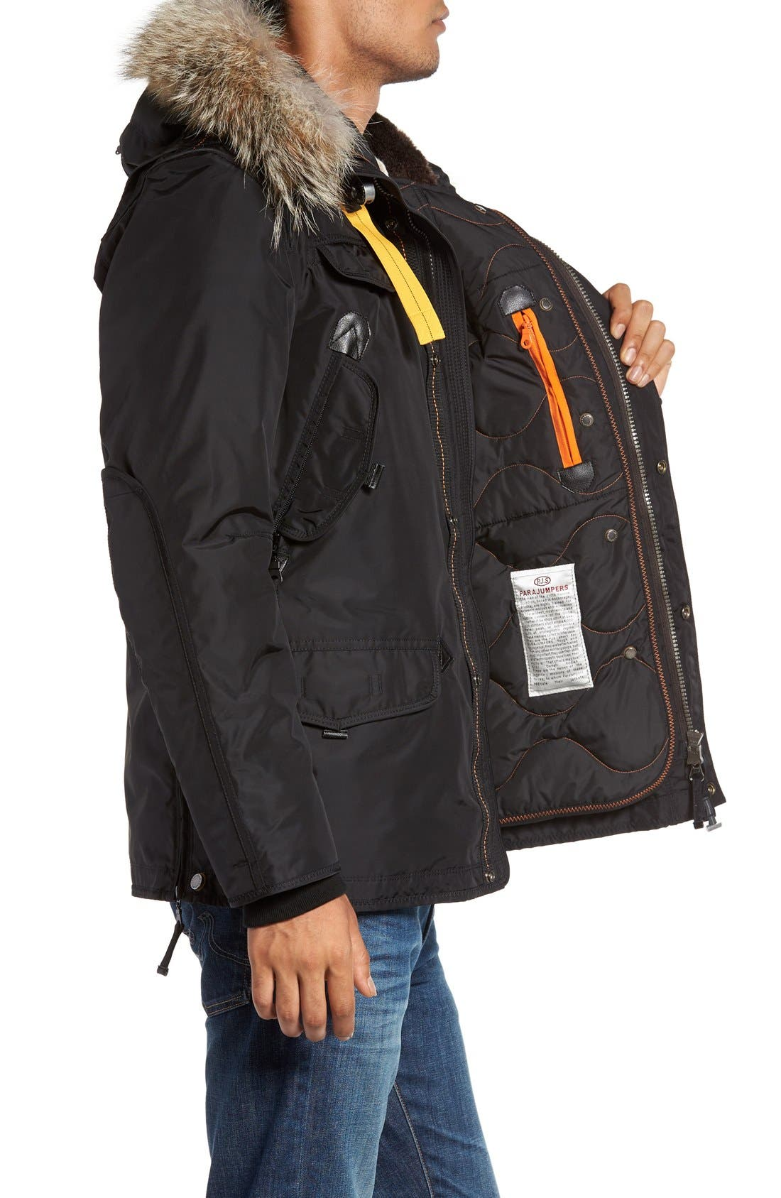 'Right Hand' Water Repellent Down Jacket with Faux Fur & Genuine Coyote Fur Trim,                             Alternate thumbnail 3, color,                             001