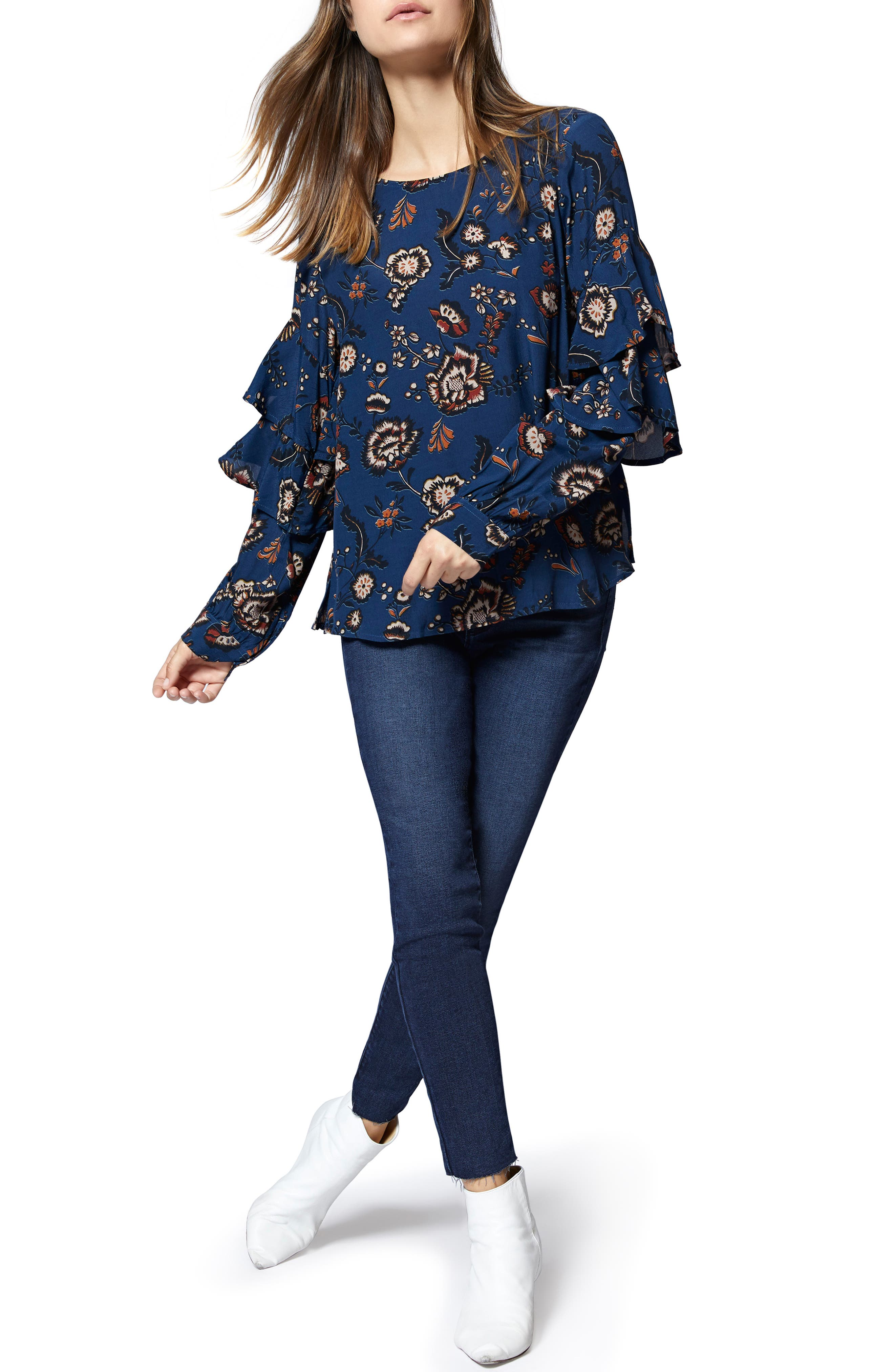 Tilly Floral Ruffle Sleeve Top,                             Alternate thumbnail 4, color,                             BLUE LIFE