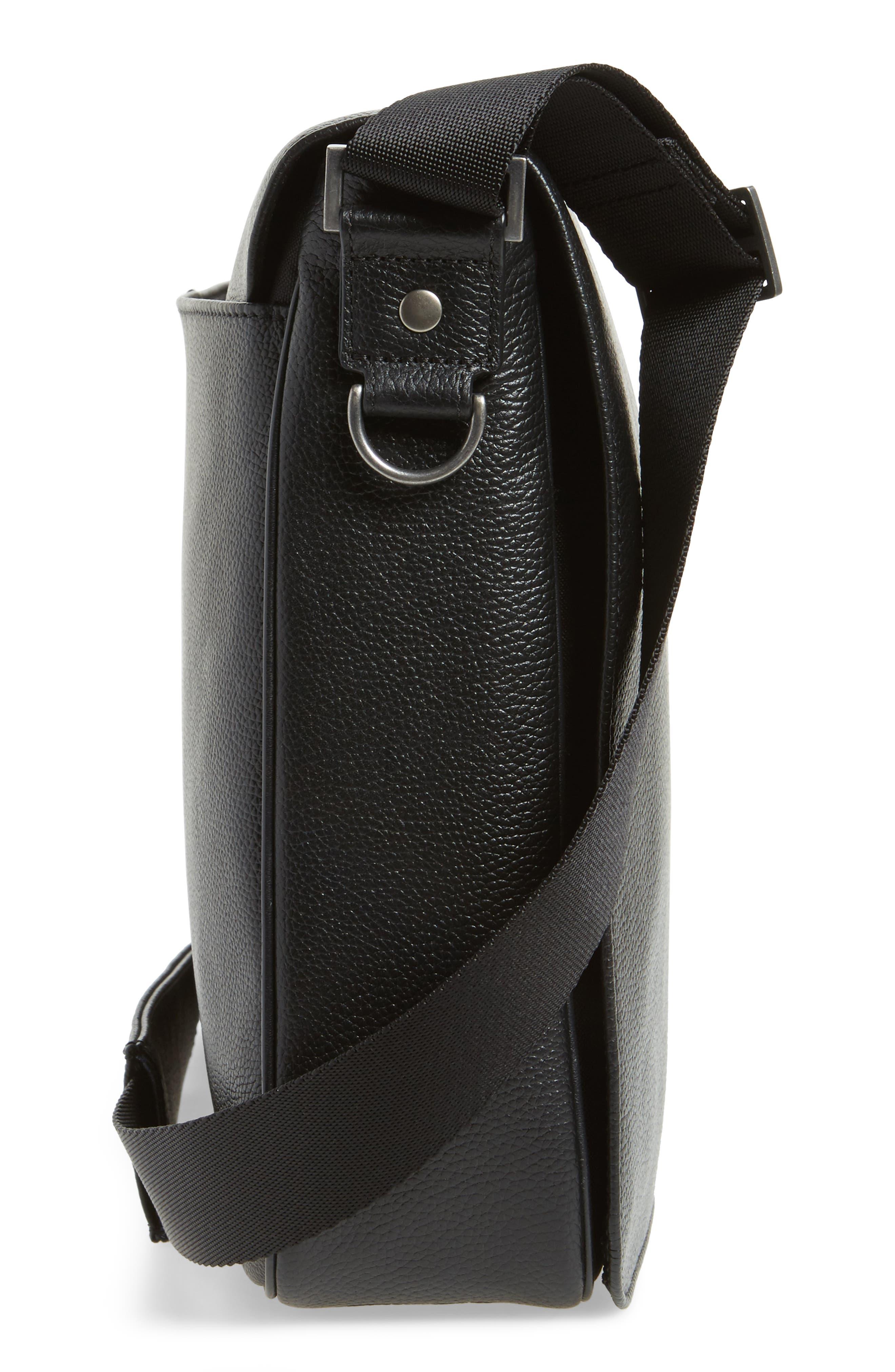 Midland Leather Messenger Bag,                             Alternate thumbnail 5, color,                             001