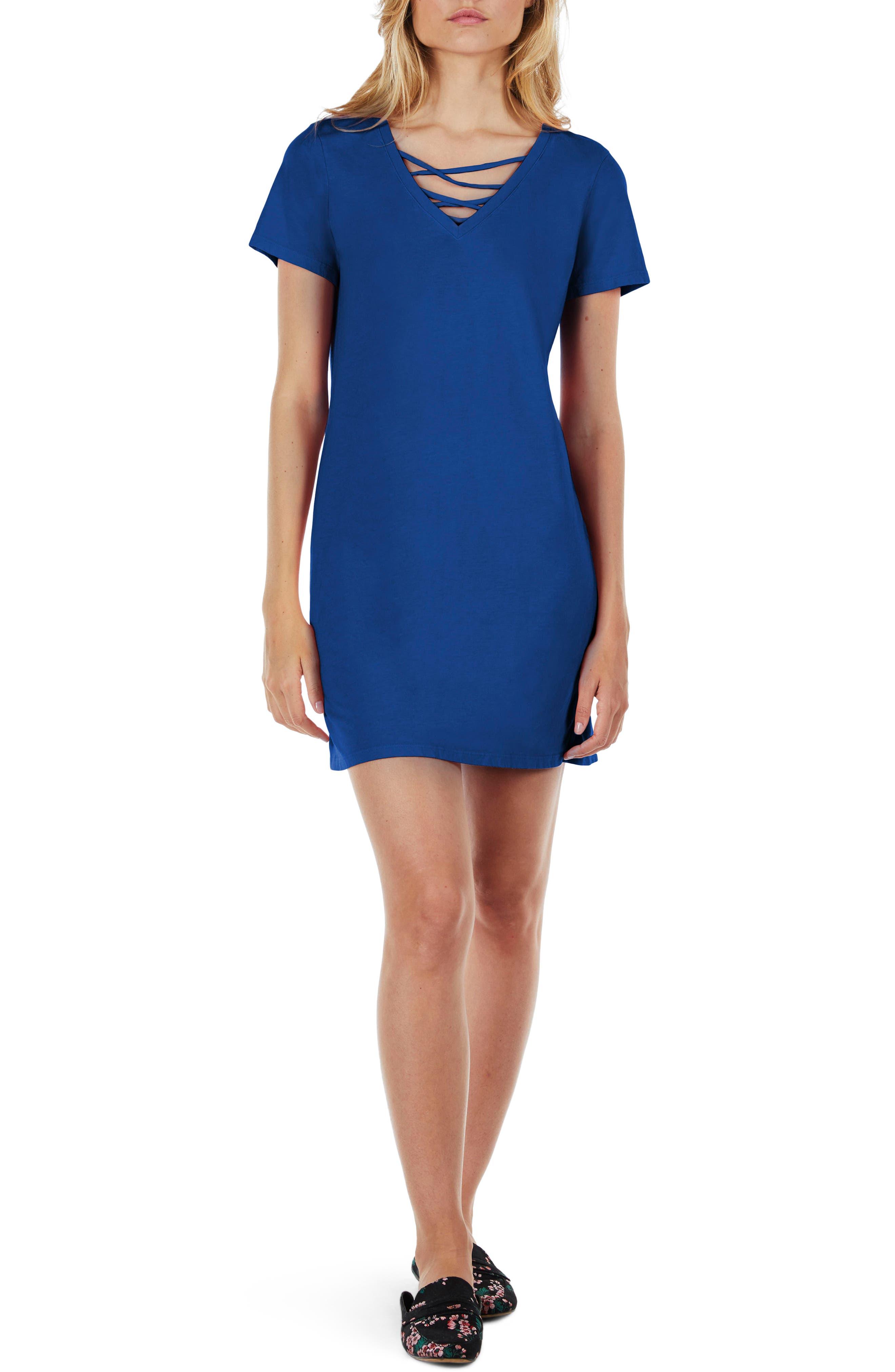 Strappy V-Neck Shift Dress,                             Main thumbnail 3, color,