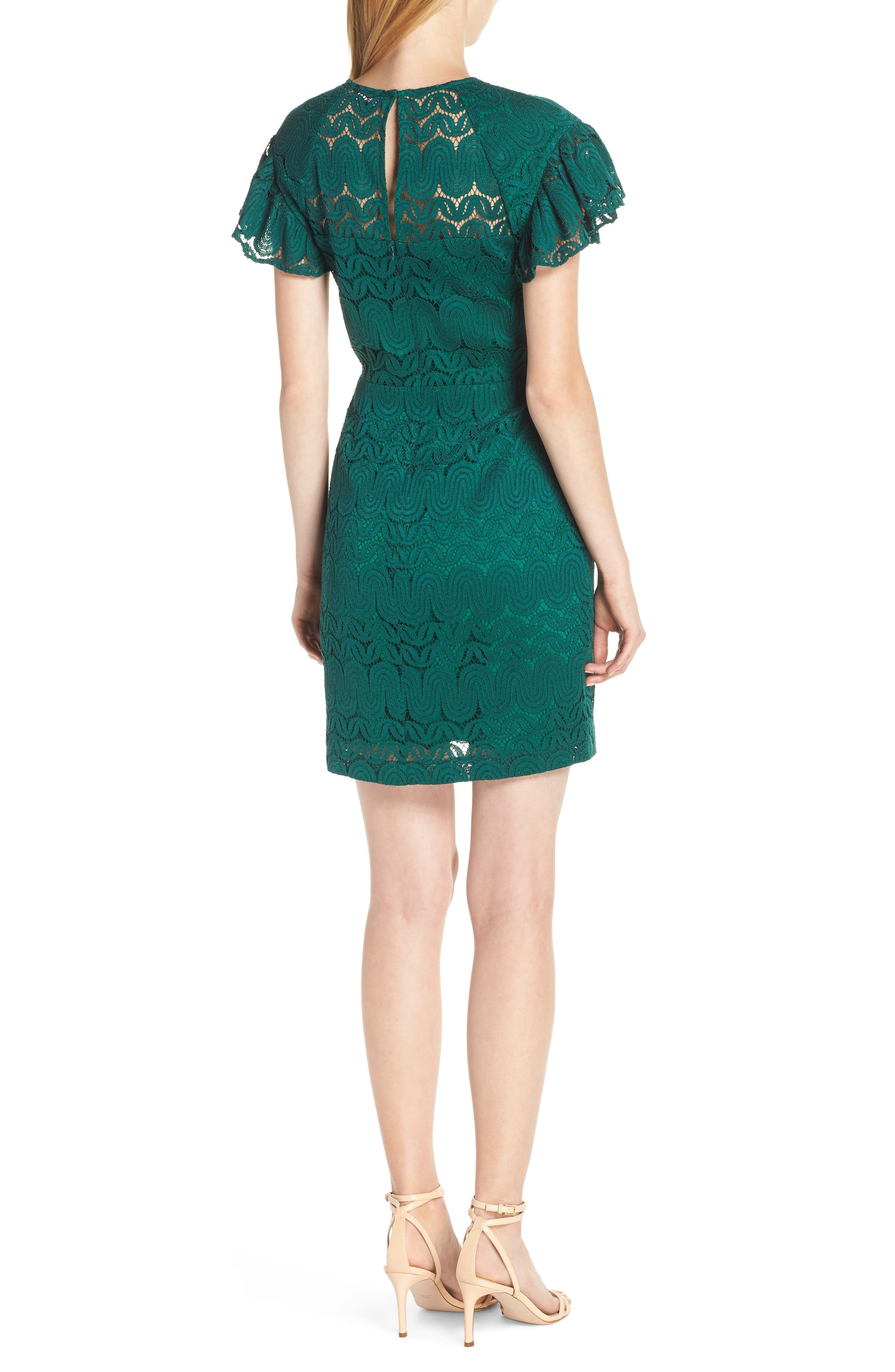 Mai Tai Lace Dress,                             Alternate thumbnail 2, color,                             EMERALD