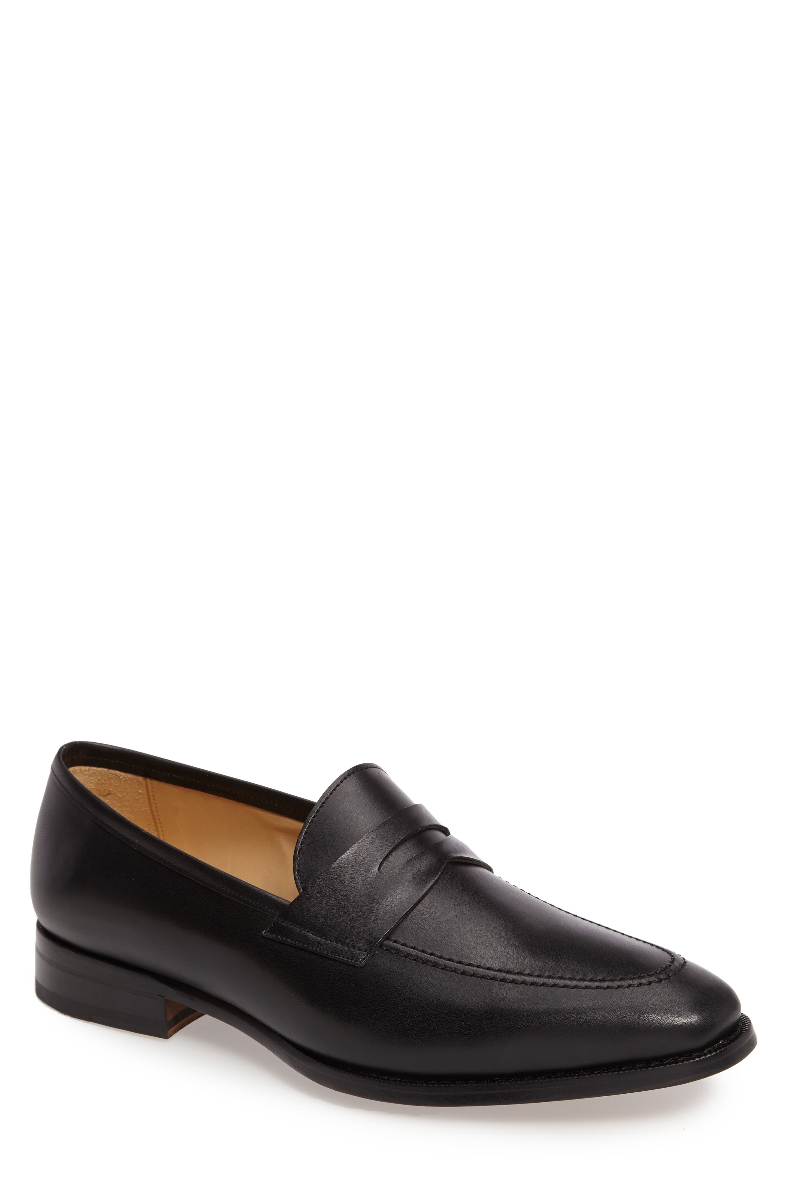 Abe Penny Loafer,                         Main,                         color, BLACK LEATHER
