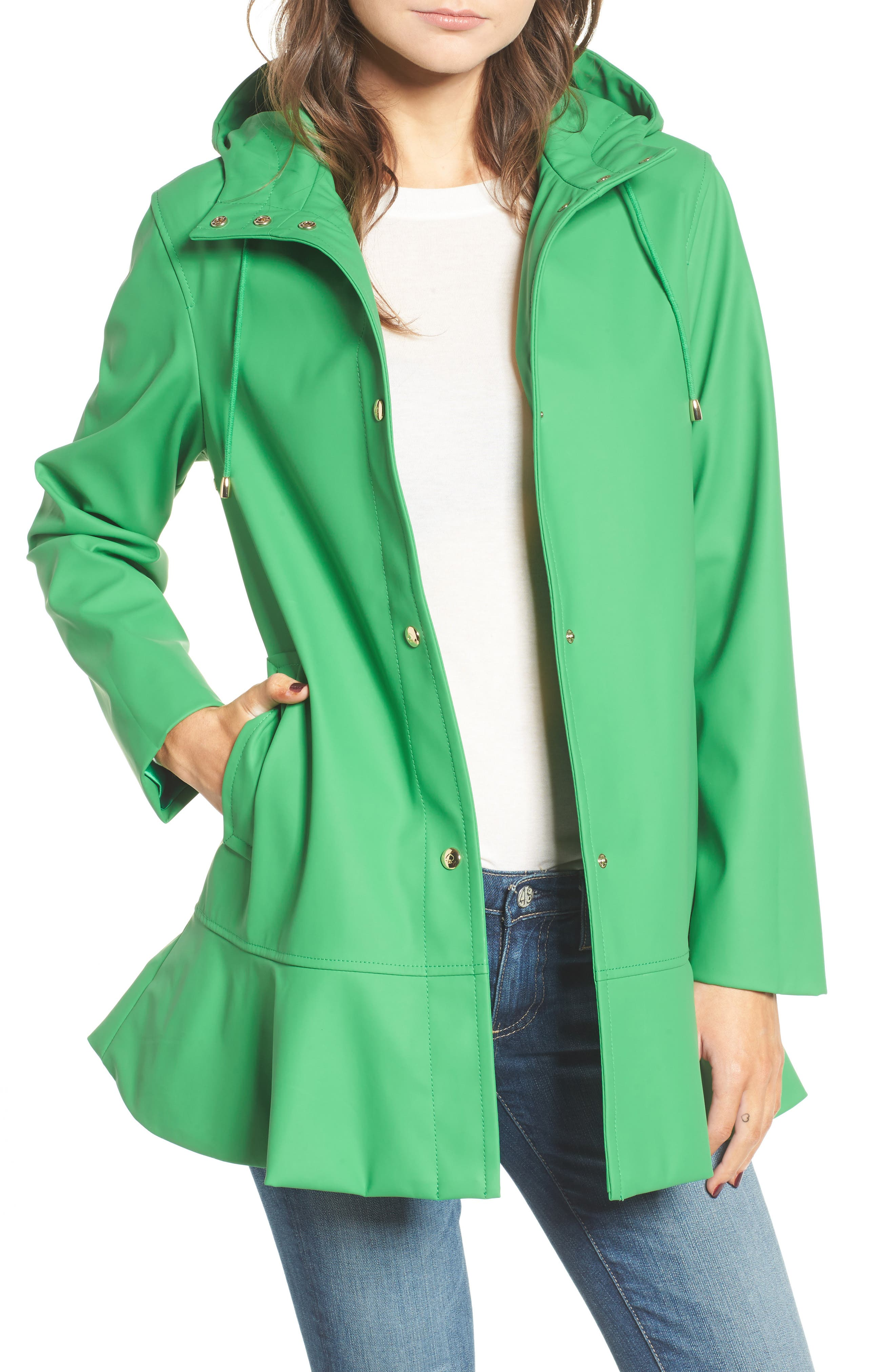 hooded peplum rain coat,                         Main,                         color, 330