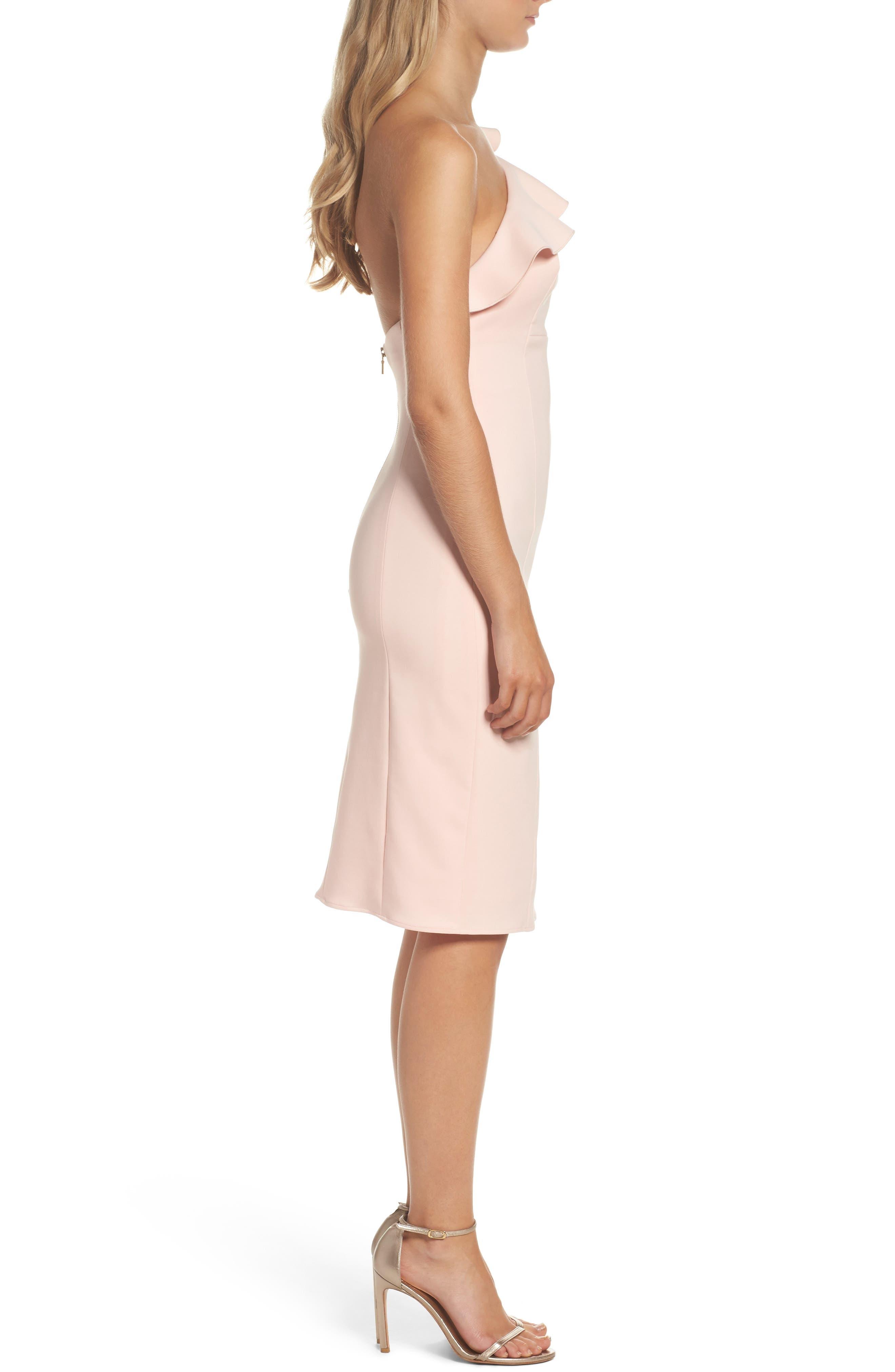 Ruffle One-Shoulder Dress,                             Alternate thumbnail 3, color,                             695