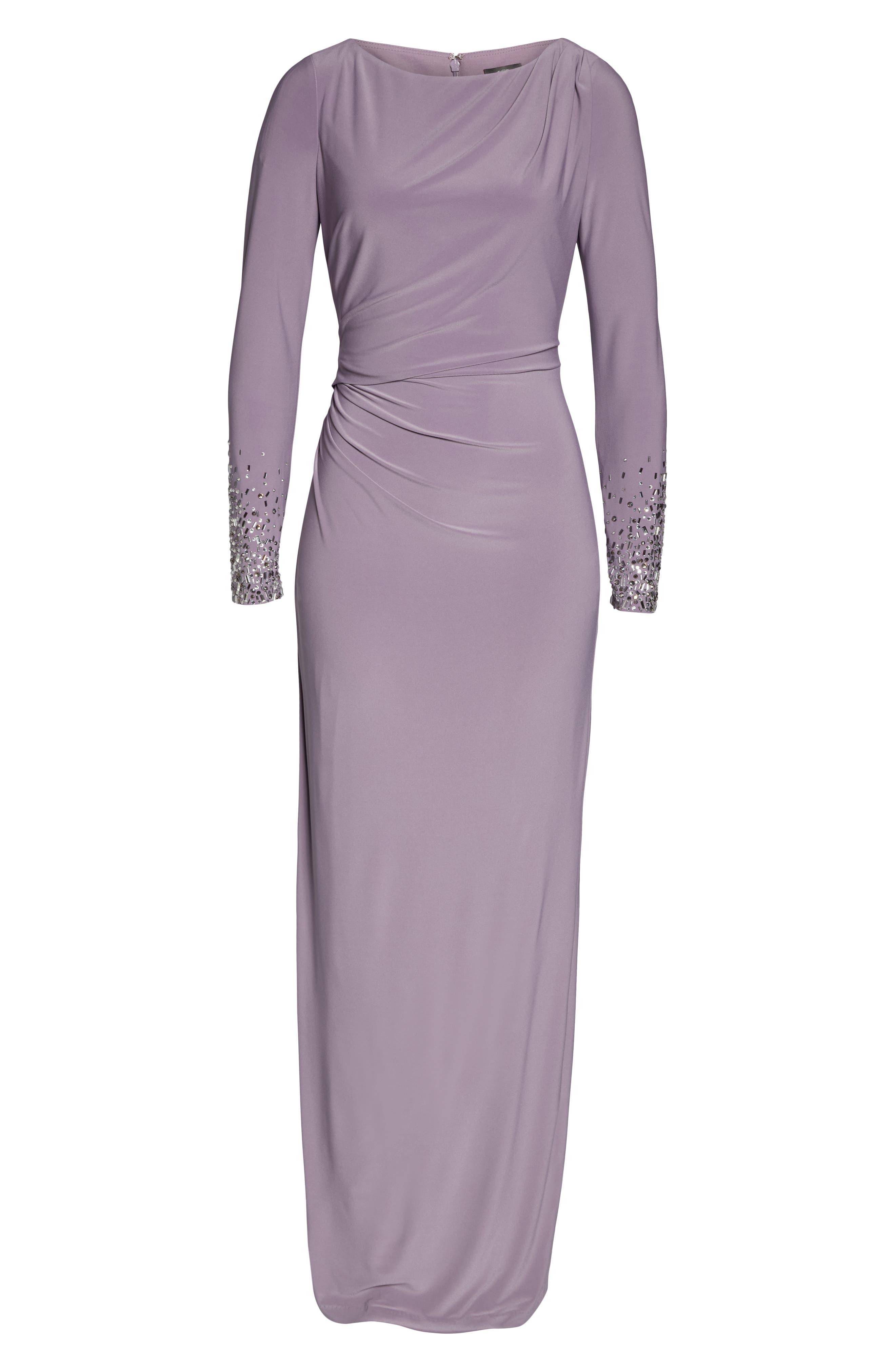 VINCE CAMUTO,                             Embellished Sleeve Ruched Evening Dress,                             Alternate thumbnail 7, color,                             LILAC