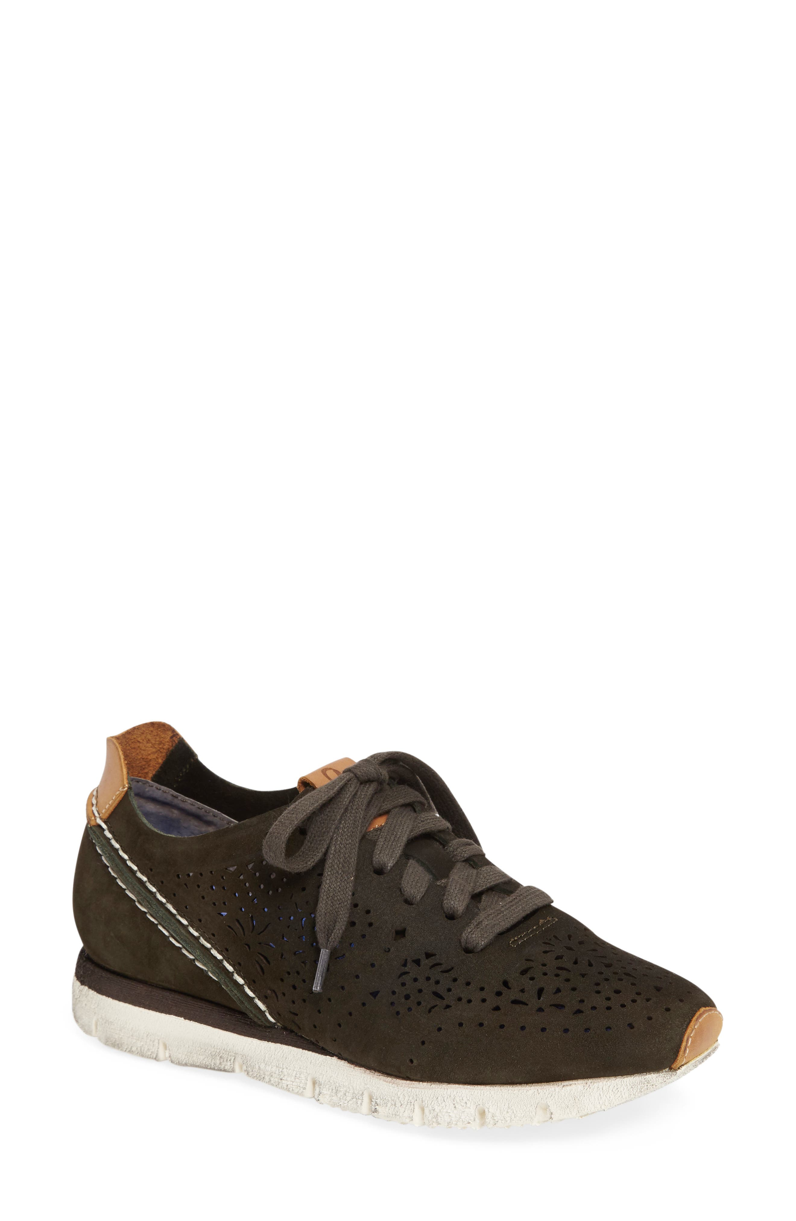 Khora Sneaker,                         Main,                         color, DARK GREEN LEATHER