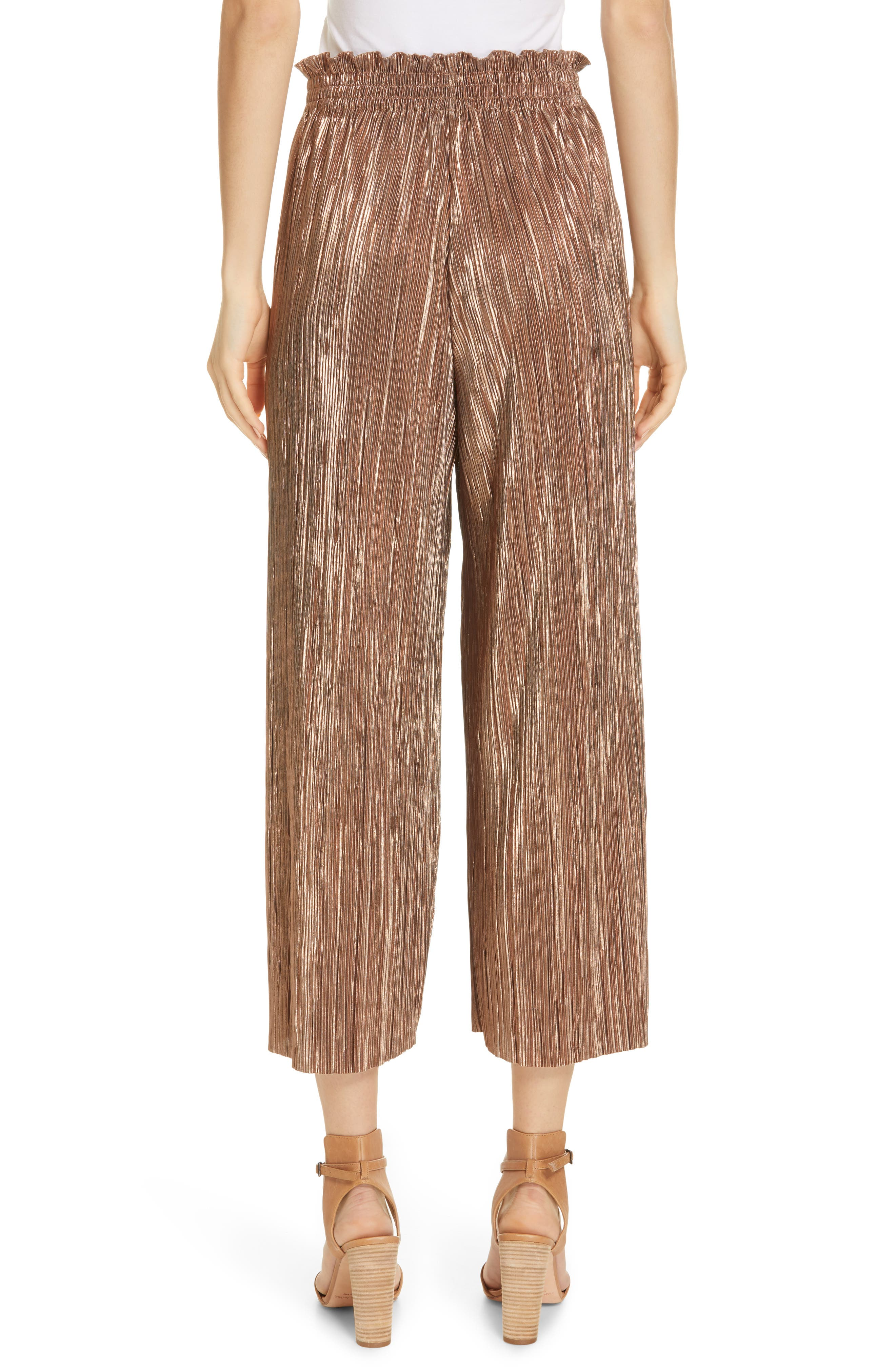 Elba Paperbag Waist Crop Pants,                             Alternate thumbnail 2, color,                             ROSE GOLD