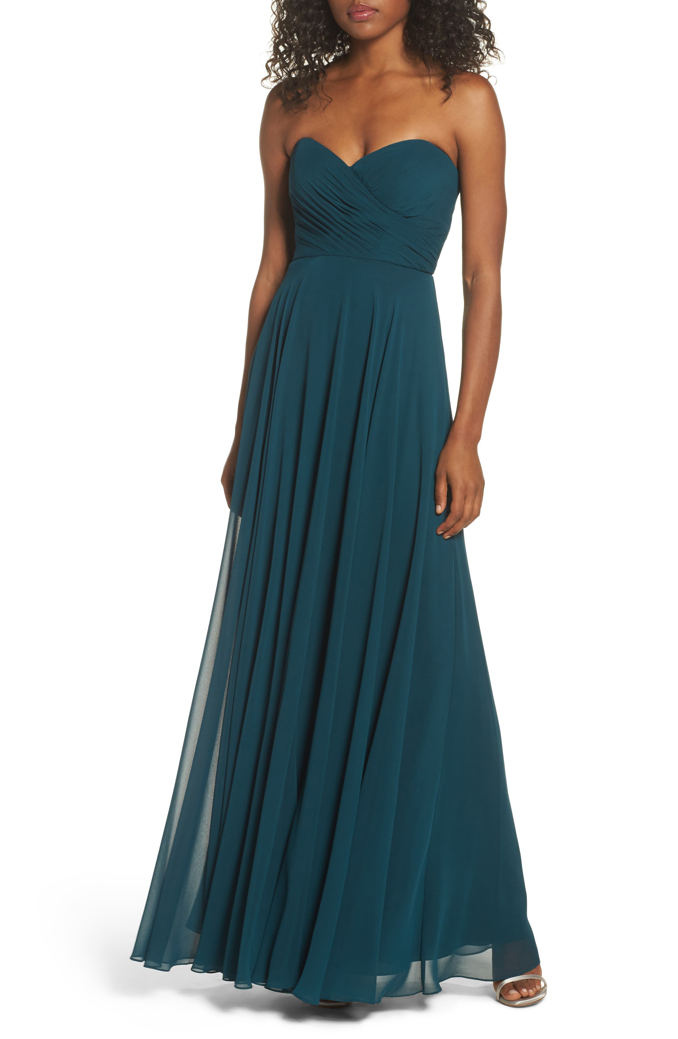 JENNY YOO Adeline Strapless Chiffon Gown, Main, color, 444