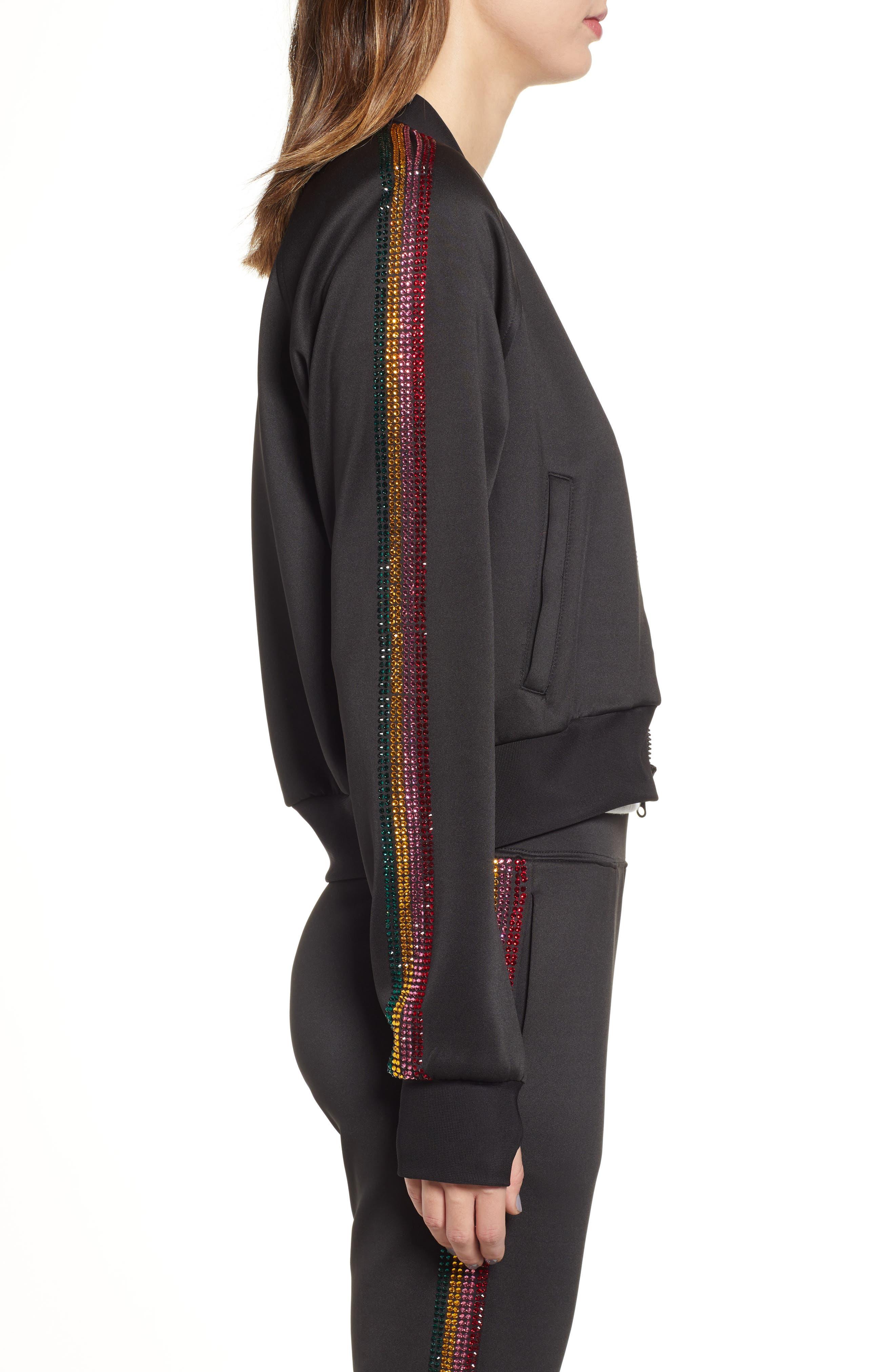 Sleeve Stripe Track Jacket,                             Alternate thumbnail 3, color,                             BLACK