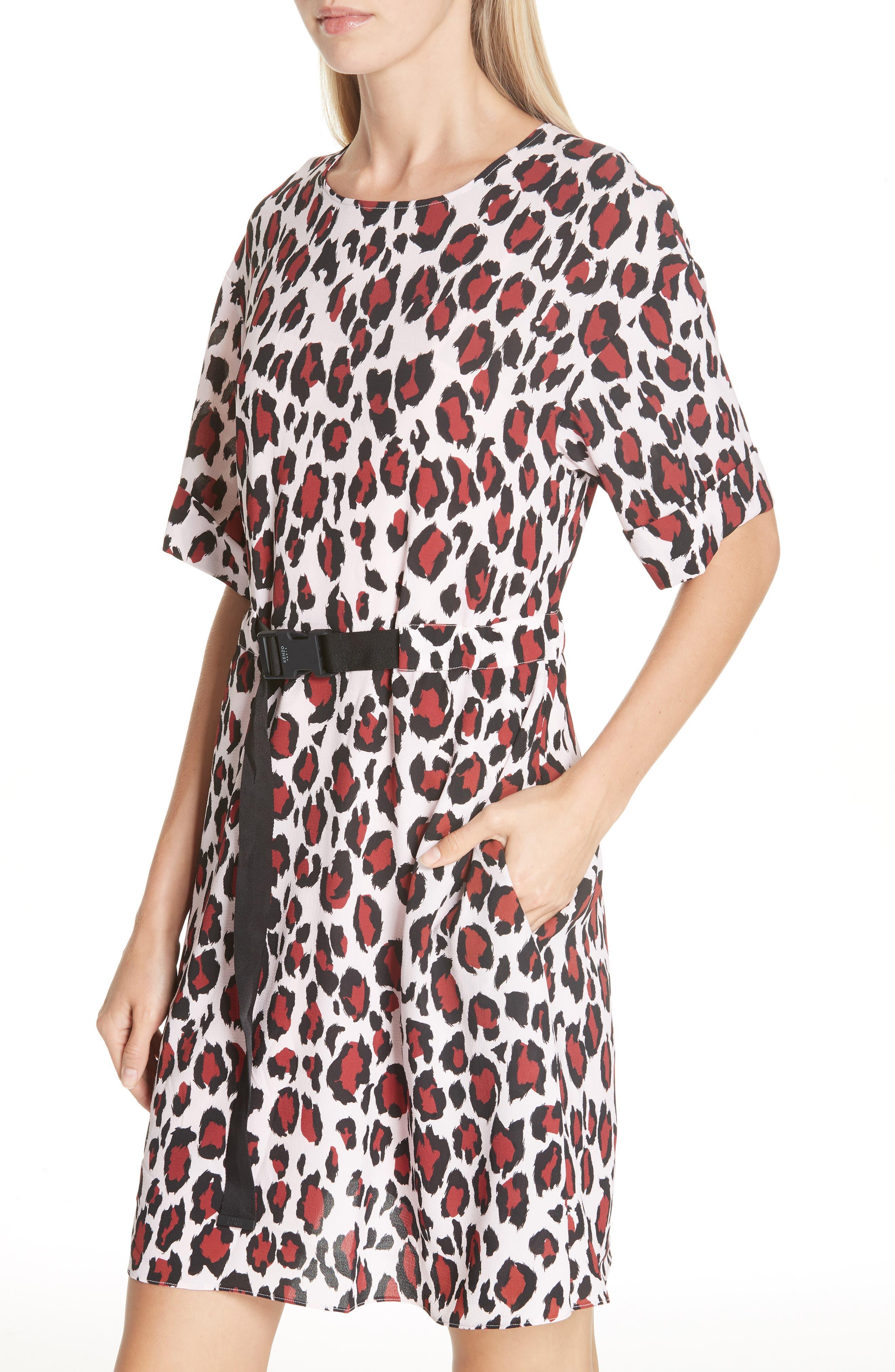 Animal Print Belted Dress,                             Alternate thumbnail 4, color,                             PINK